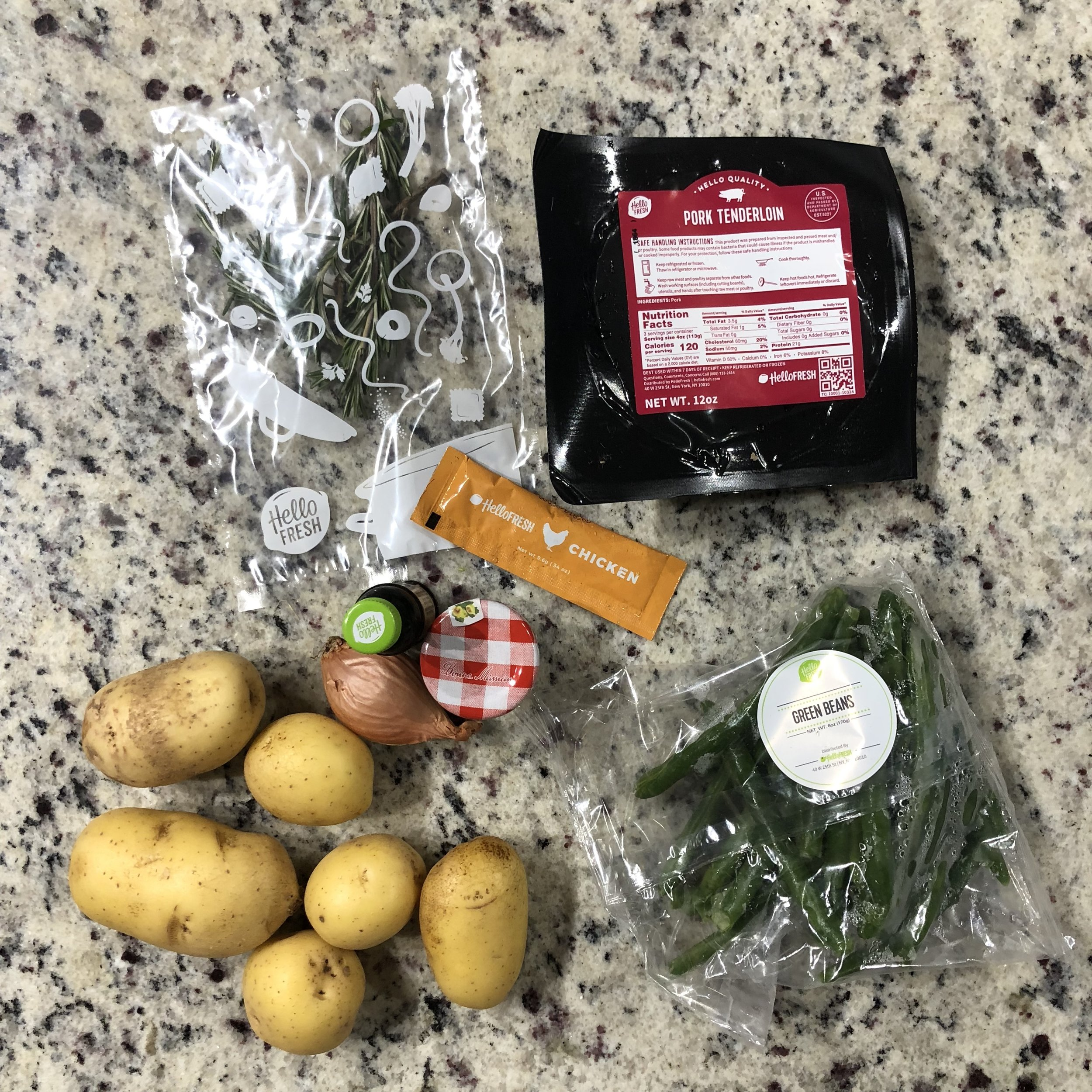 Figgy Balsamic Pork w/ Roasted Green Beans & Rosemary Potatoes