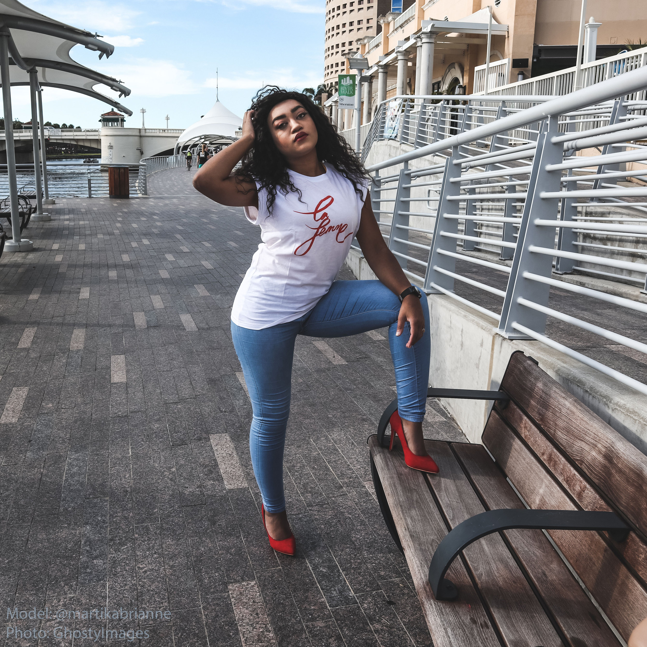 "Tbar Kelly Drop Shoulder - ""Je Suis Le Femme.""Paired with my Fashion Nova Jeans, Agaci Red Heels, & Treehut Co. Ebony Theo Blue Watch.Photography: George Jones"