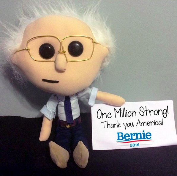 Lil' Bernie celebrates the massive wave of contributions that poured into Big Bernie's campaign during the third quarter of 2015.(photo courtesy of Emily Engel)