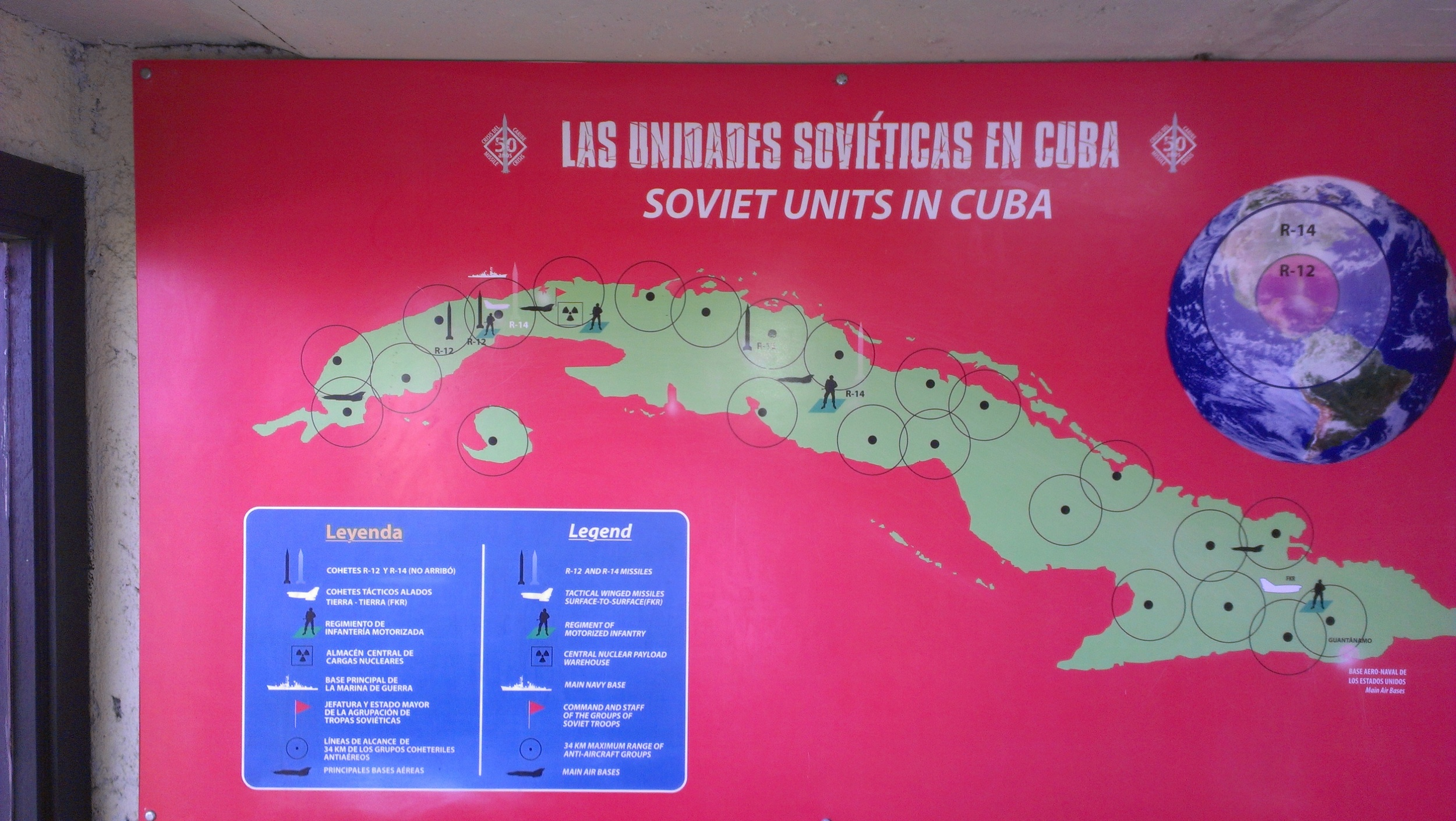 A poster in the bunker-museum under the Nacional garden displays the positions of Soviet troops during the missile crisis.