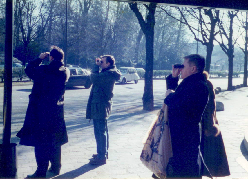 A high-level group of Russian banking executives during a visit to HP Grenoble in the late 90s. Initially unimpressed by our gift of branded binoculars, they perked up when we told them that the park across the street from the hotel was frequented by individuals of a non-traditional sexual orientation.