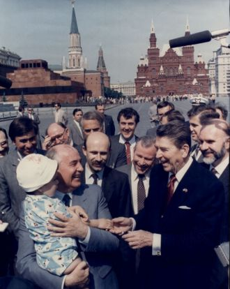Reagan visiting Red Square with Gorbachev after the ratification of INF.
