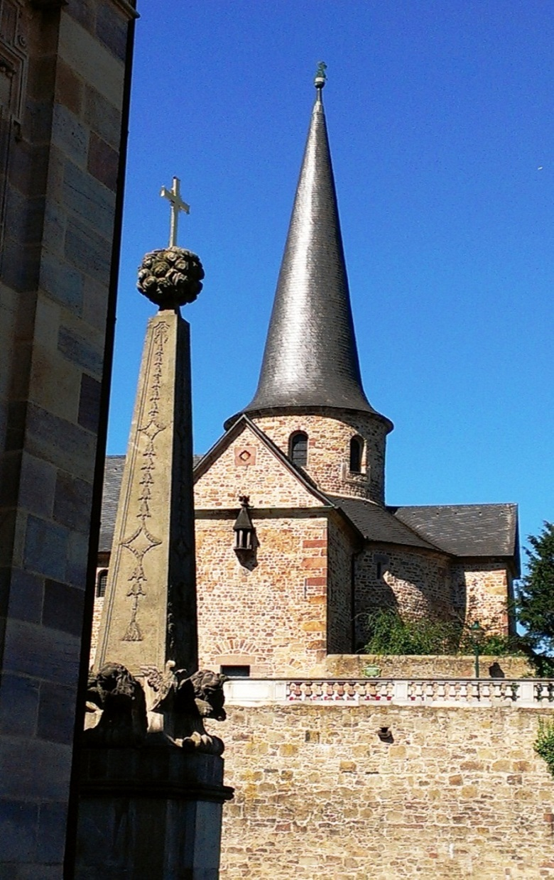 The tower of the abbey next to the cathedral in Fulda.