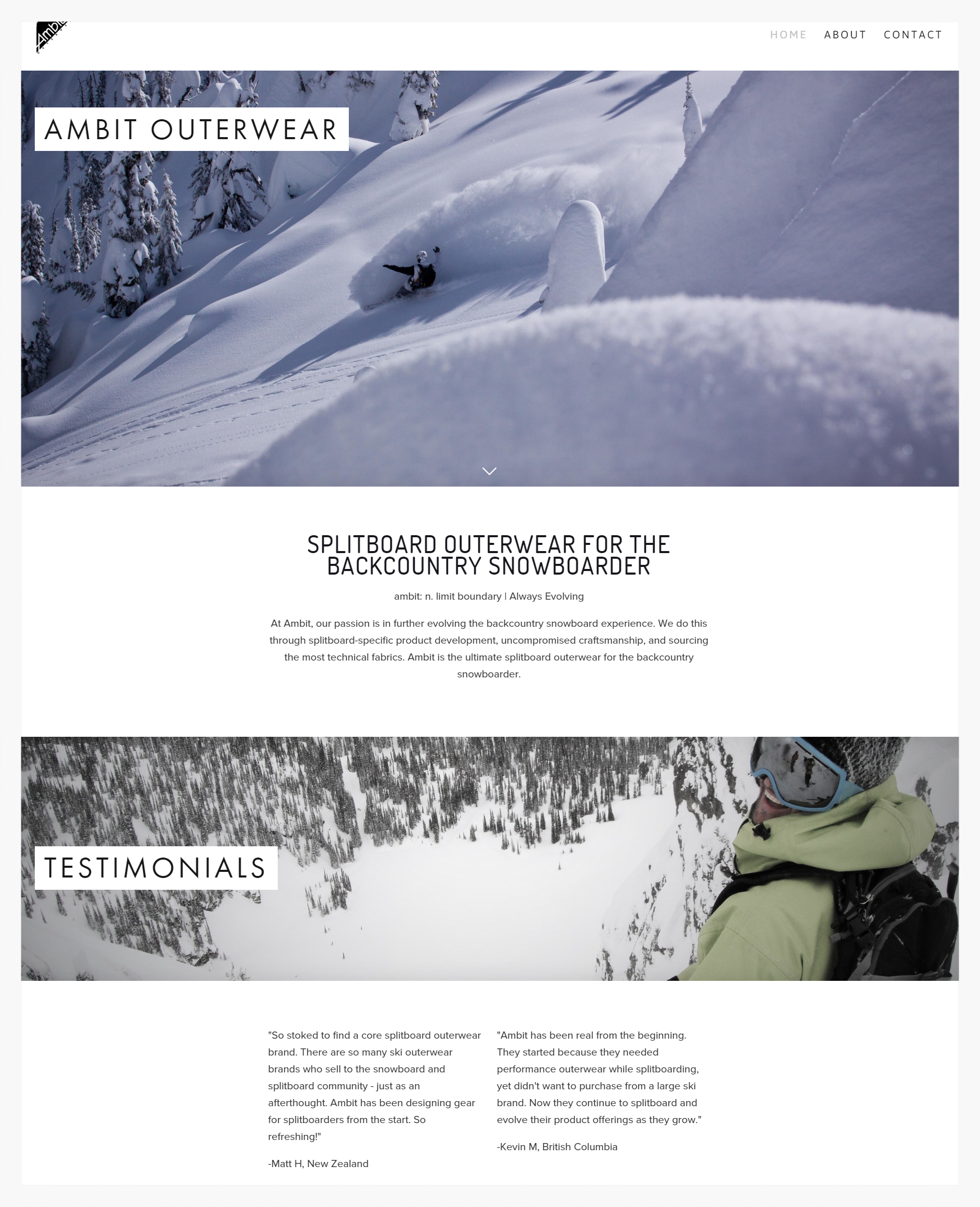 Ambit Outerwear Website Design