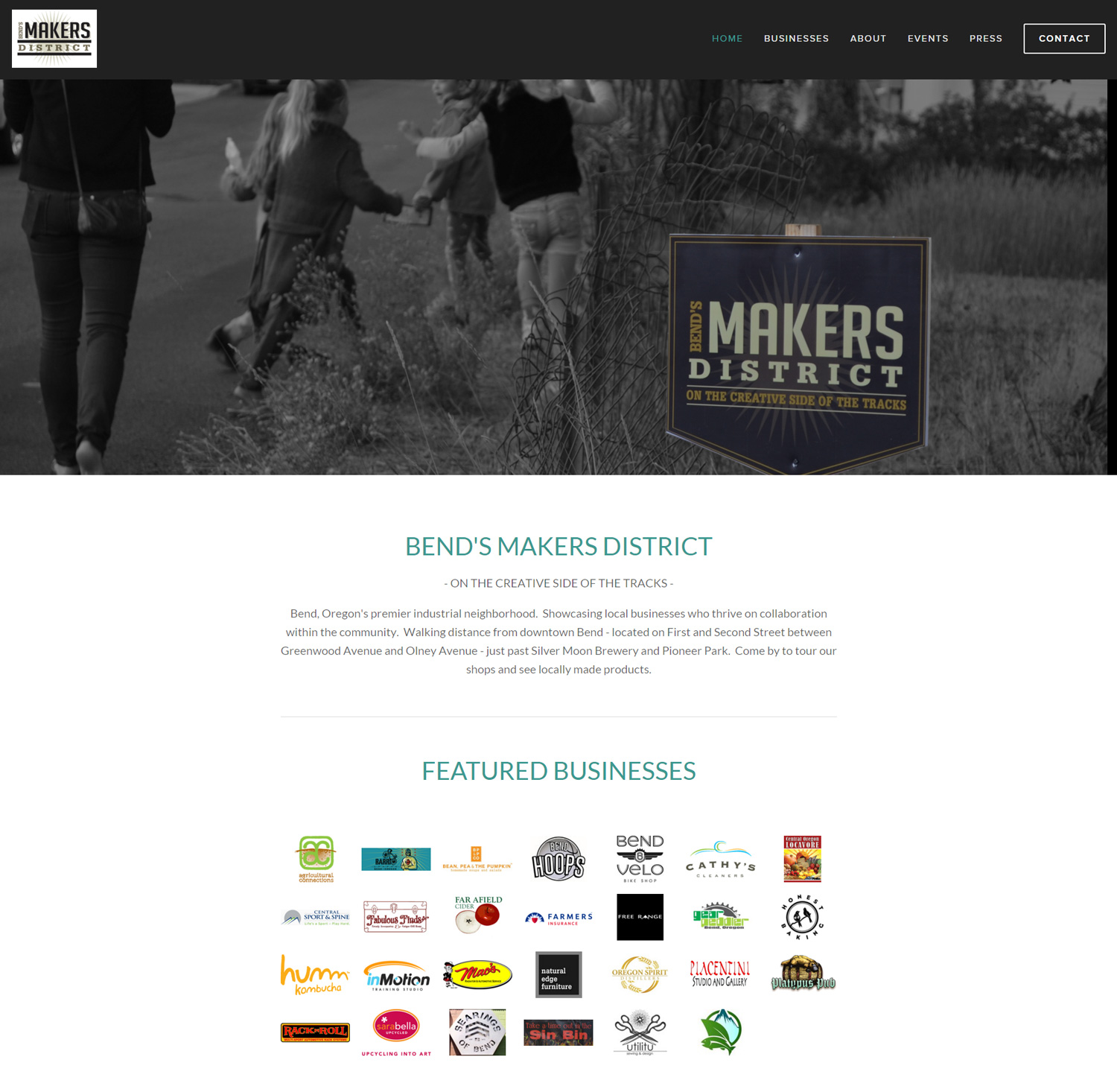 Bends Makers District Website Design