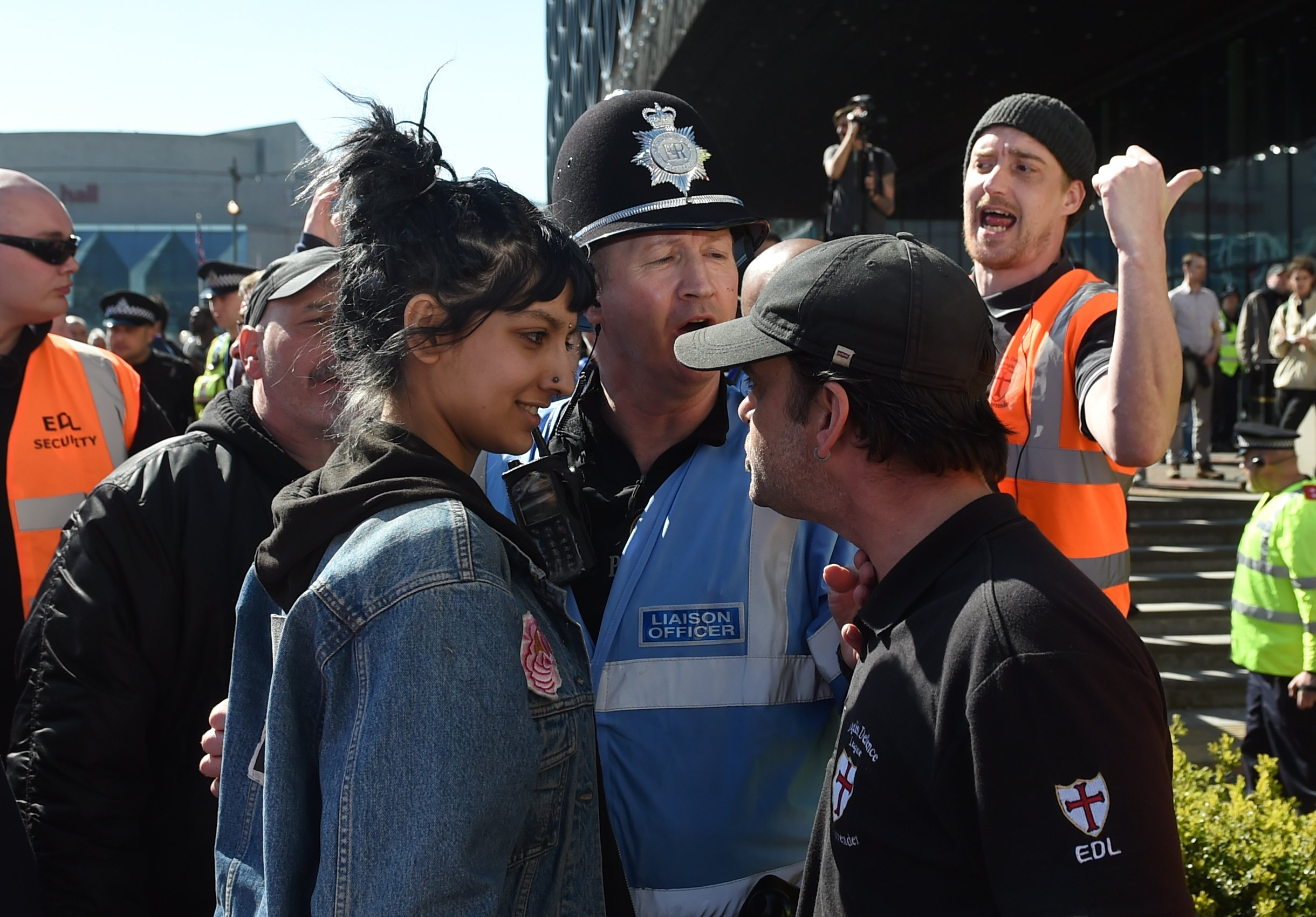 Saffiyah Khan calmly smiles in the face of bigotry in 2017.  Image credit: independent.co.uk