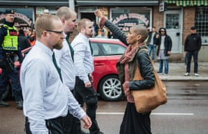 Tess Asplund stands with power at a Neo Nazi demonstration in Sweden in 2016.   Image credit: Telesurenglish.net