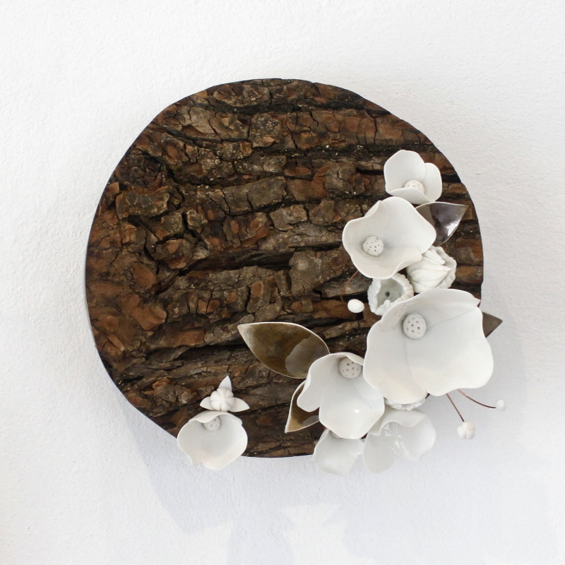 Amy Hick, Porcelain in Bloom no.2 , 2015. Hand built imperial porcelain, golden elm, clear glaze, bronze glaze, copper wire, approximately 21x21x12cm  Photography: Madeline Young