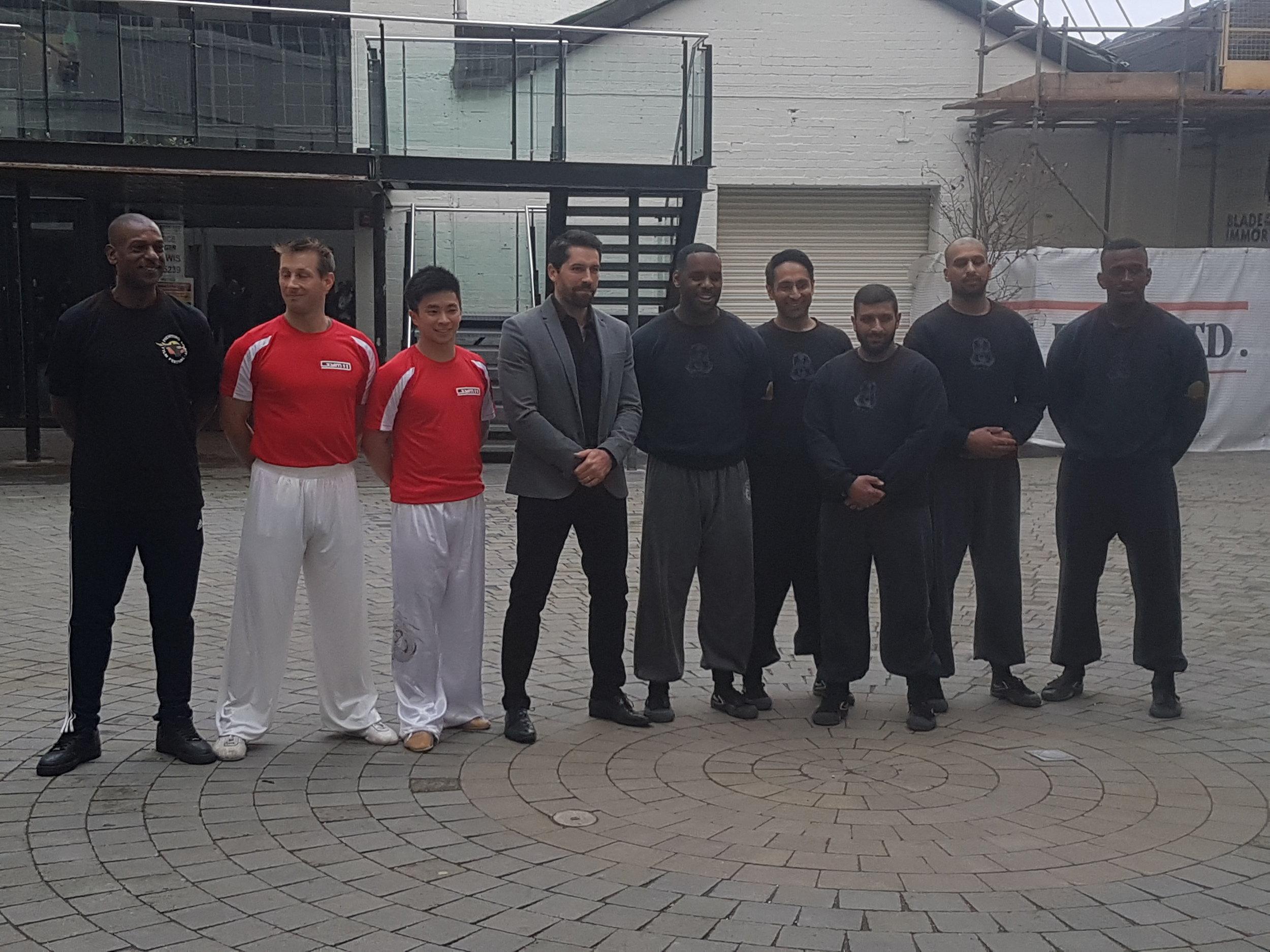 pictured:Steve Coleman, Sam Mak, Scott Adkins, and the Southern Mantis demo team: Jayson Wynters, Telvinder Singh, Aleem Khan, Harjinder Chahal, Clinton Edwards