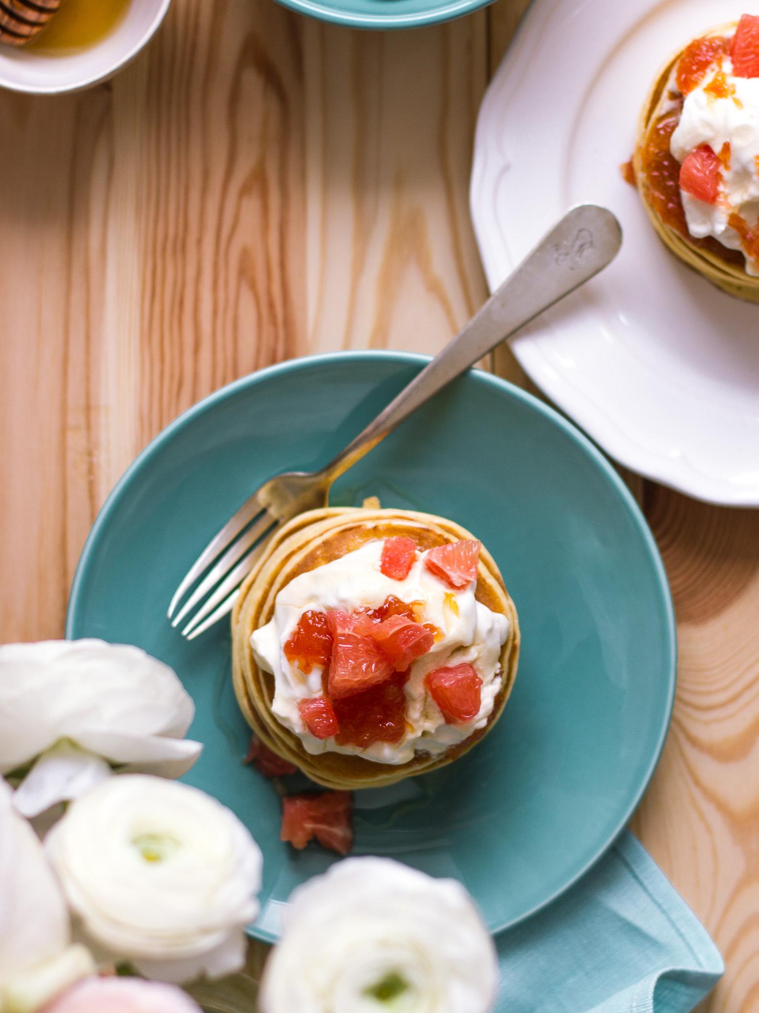 Tortitas con mermelada de pomelo