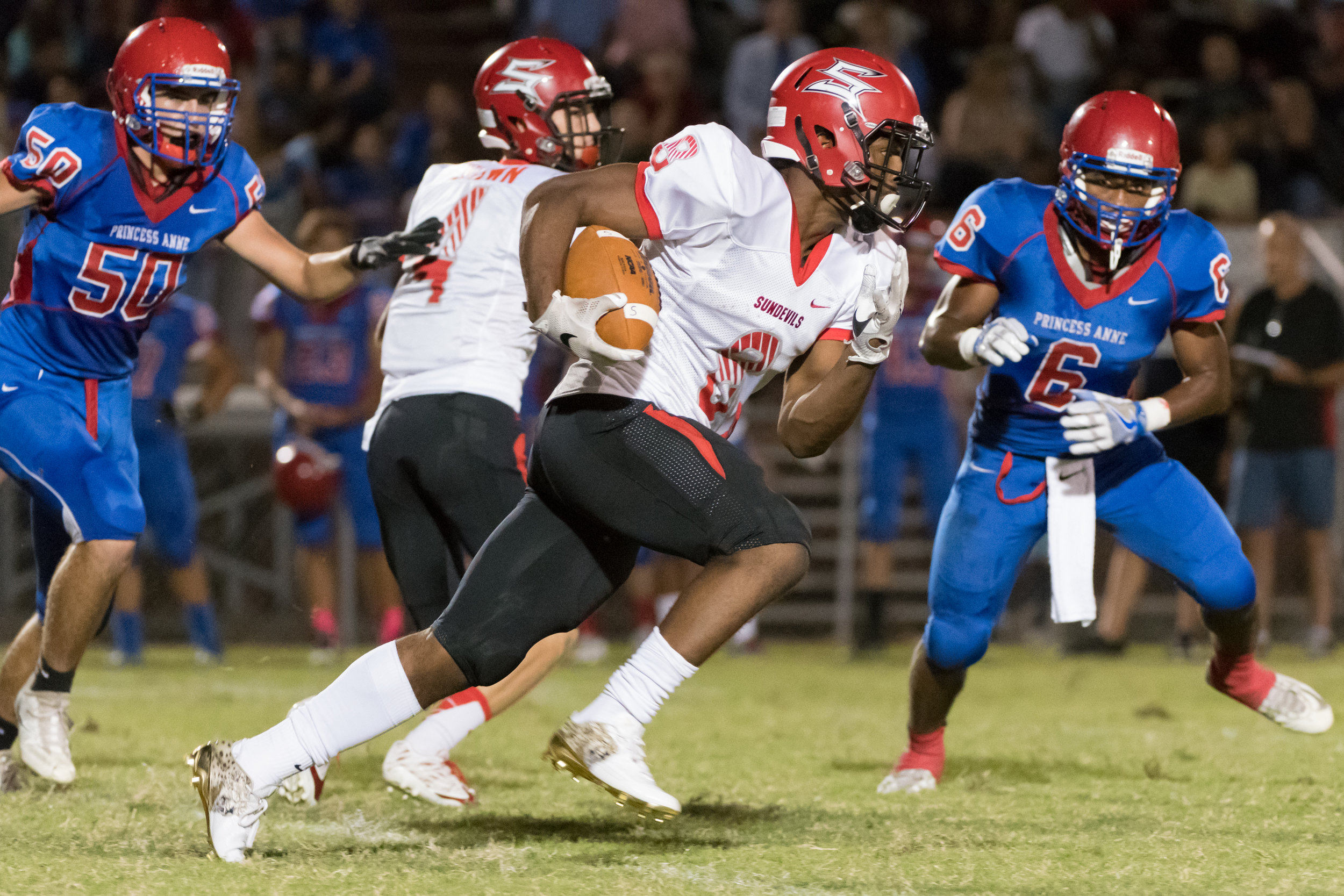 Salem running back Davonte Williams runs the ball during Friday night's game against Princess Anne.