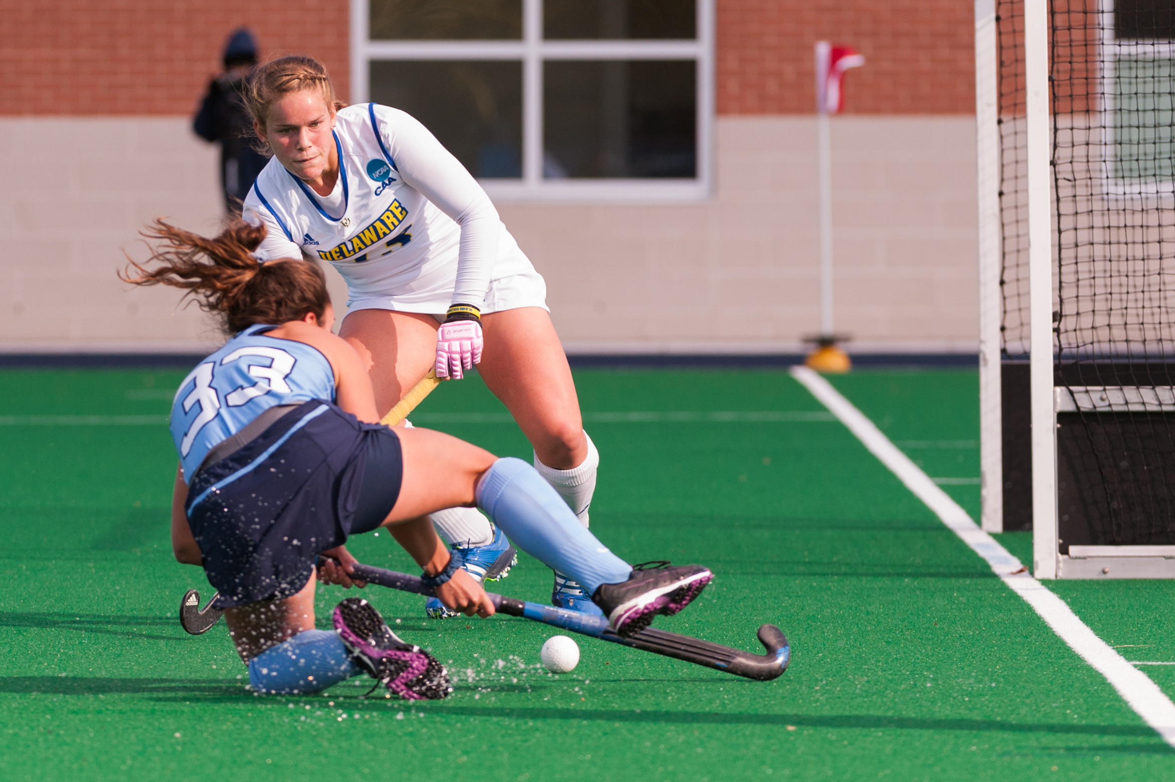 North Carolina midfielder Kristy Bernatchez (3) takes a shot against Delaware midfielder Kayla Devlin (13) during the 2016 NCAA DI National Championship at the L.R. Hill Sports Complex in Norfolk, VA. Delaware defeated North Carolina 3-2.