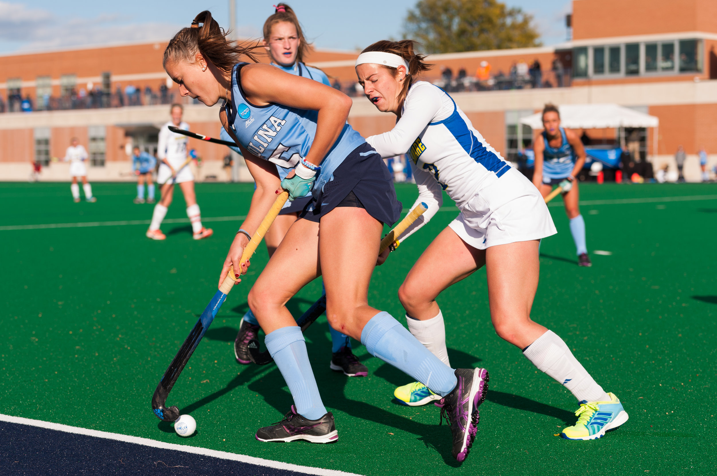 North Carolina forward Malin Evert (15) works to keep the ball inbounds against the Delaware Blue Hens during the 2016 NCAA DI National Championship at the L.R. Hill Sports Complex in Norfolk, VA. Delaware defeated North Carolina 3-2.