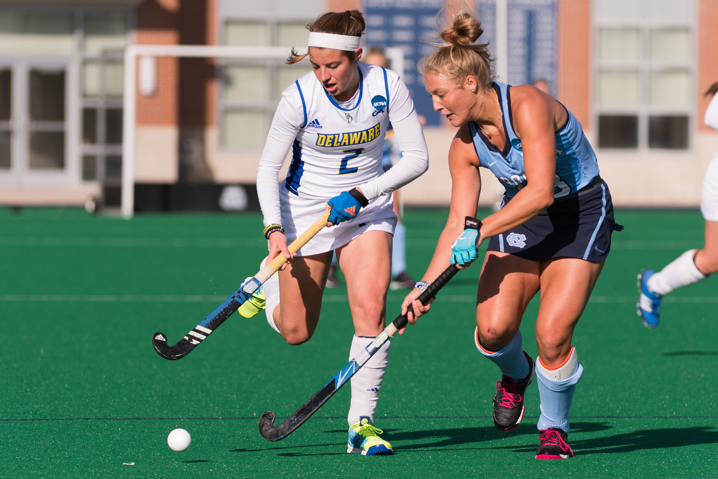 North Carolina midfielder Ashley Hoffman (13) and Delaware forward Taylor Lister (2) in action during the 2016 NCAA DI National Championship at the L.R. Hill Sports Complex in Norfolk, VA. Delaware defeated North Carolina 3-2.
