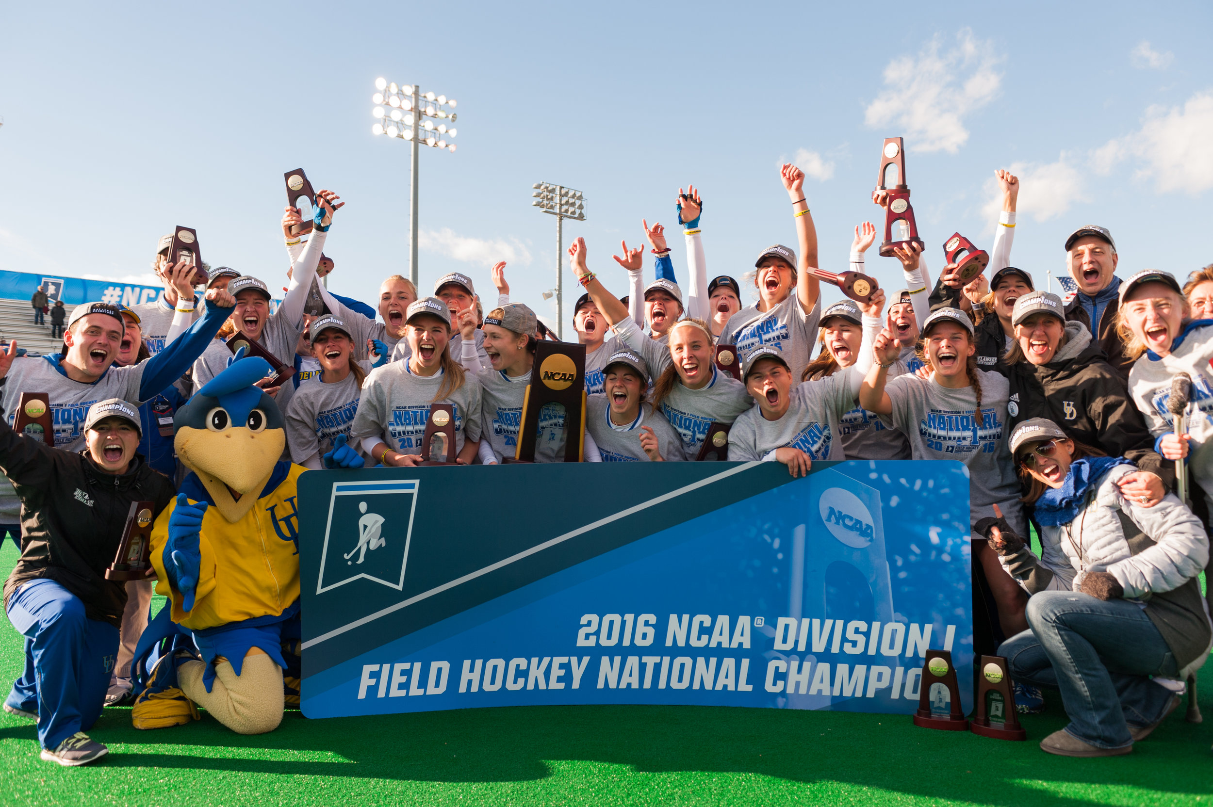 Delaware Blue Hens players celebrate after defeating the North Carolina Tar Heels during the 2016 NCAA DI National Championship at the L.R. Hill Sports Complex in Norfolk, VA. Delaware defeated North Carolina 3-2.
