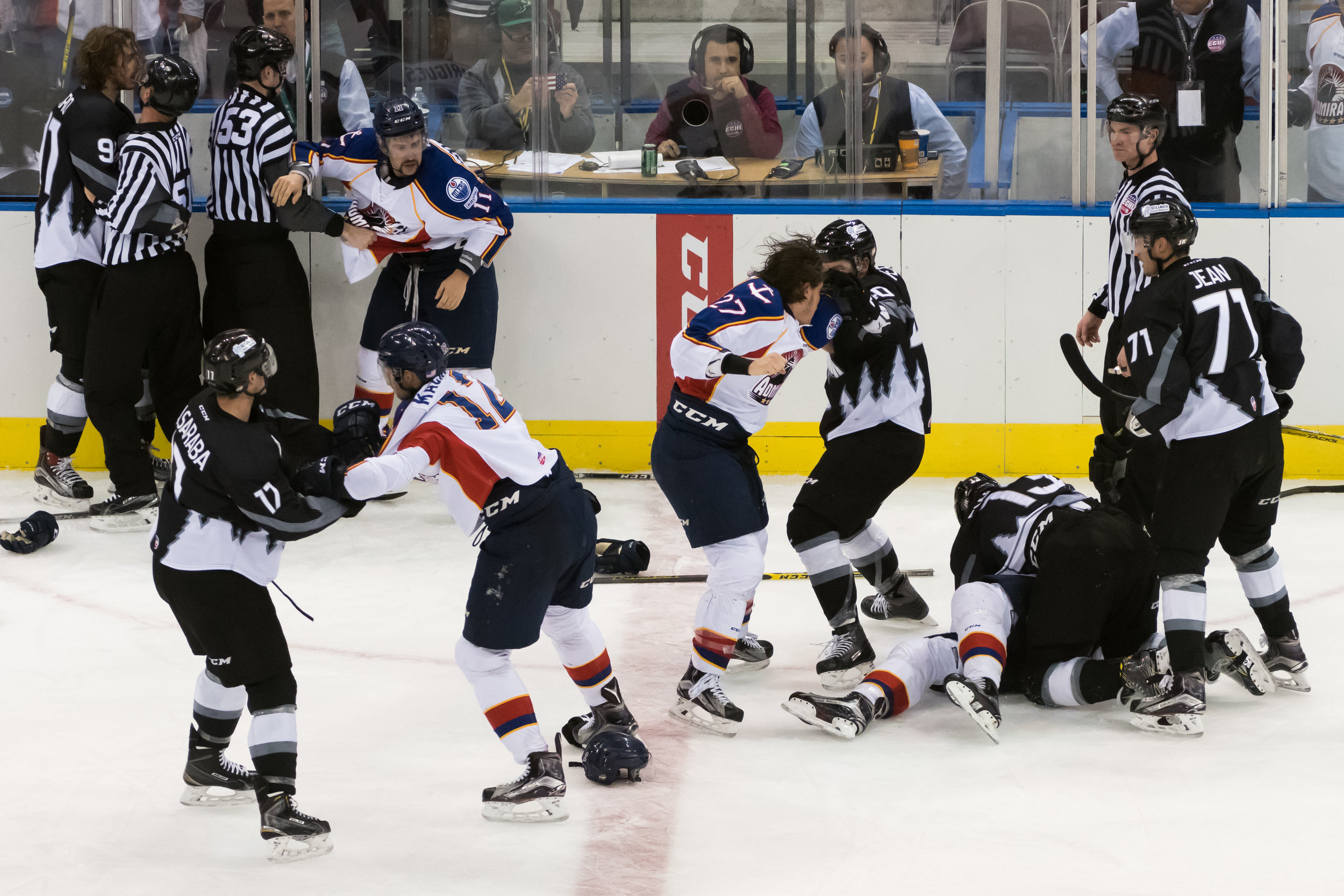 Norfolk Admirals and Idaho Steelheads players fight during Wednesday night's game at the Scope Arena in Norfolk, Virginia. Idaho defeated Norfolk 6-4.