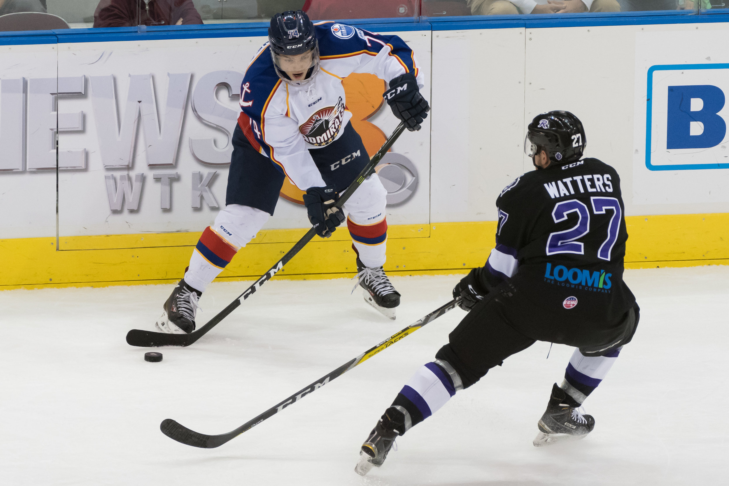 Norfolk Admirals forward Jaedon Descheneau looks to get past Reading Royals forward Ian Watters during the Friday, December 2nd 2016 game. Reading Royals lead the Norfolk Admirals 4-0 at the end of the second period.