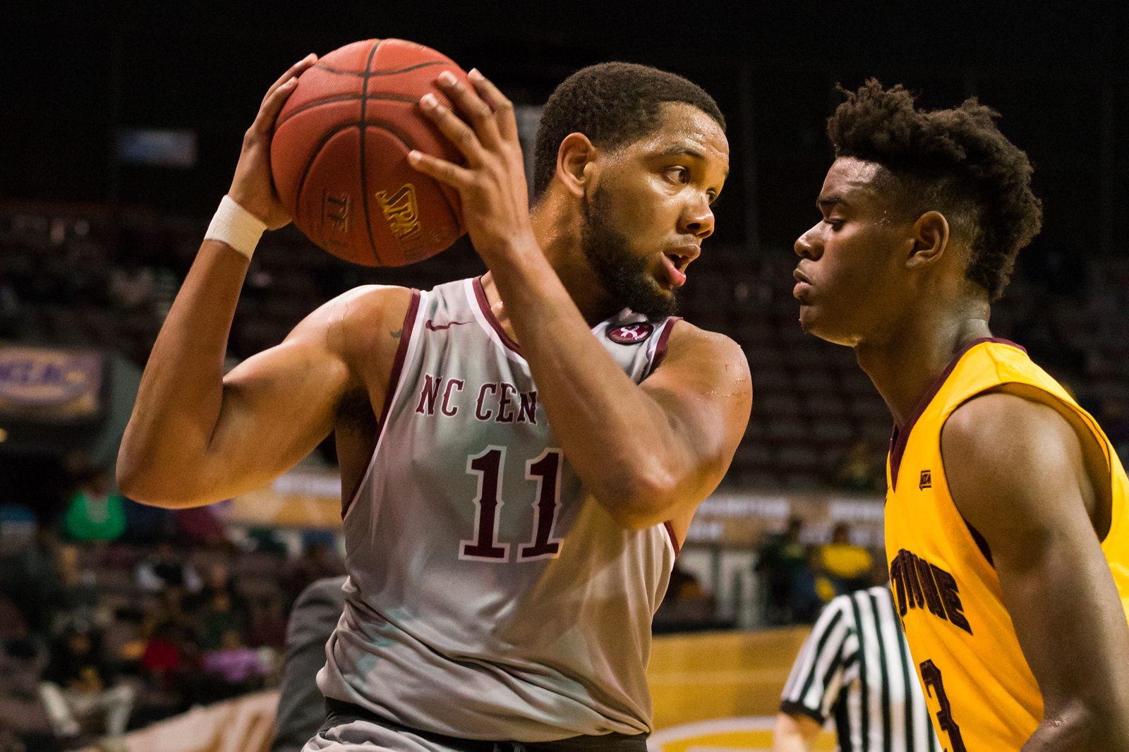 North Carolina Central Eagles guard Patrick Cole (11) stares down Bethune-Cookman Wildcats guard Brandon Tabb (3) during the 2017 MEAC Tournament held at the Scope Arena in Norfolk, VA. North Carolina Central defeated Bethune-Cookman 95-60.