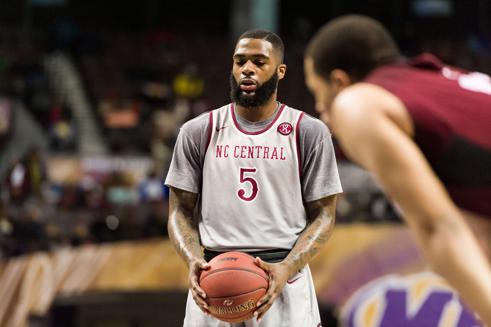 North Carolina Central Eagles forward Del'Vin Dickerson (5) sets up to take a free throw against the Maryland-Eastern Shore Hawks during the 2017 MEAC Tournament held at the Scope Arena in Norfolk, VA. North Carolina Central defeated Maryland Eastern Shore 77-49.