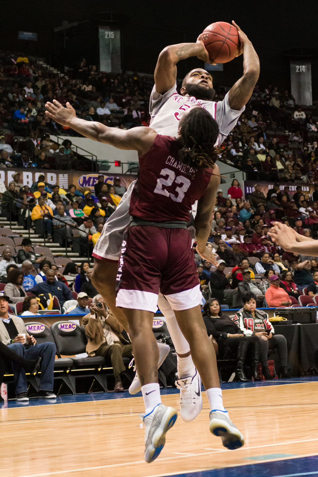 North Carolina Central Eagles forward Del'Vin Dickerson (5) goes up for a shot against Maryland-Eastern Shore Hawks guard Michael Chambers (23) during the 2017 MEAC Tournament held at the Scope Arena in Norfolk, VA. North Carolina Central defeated Maryland Eastern Shore 77-49.