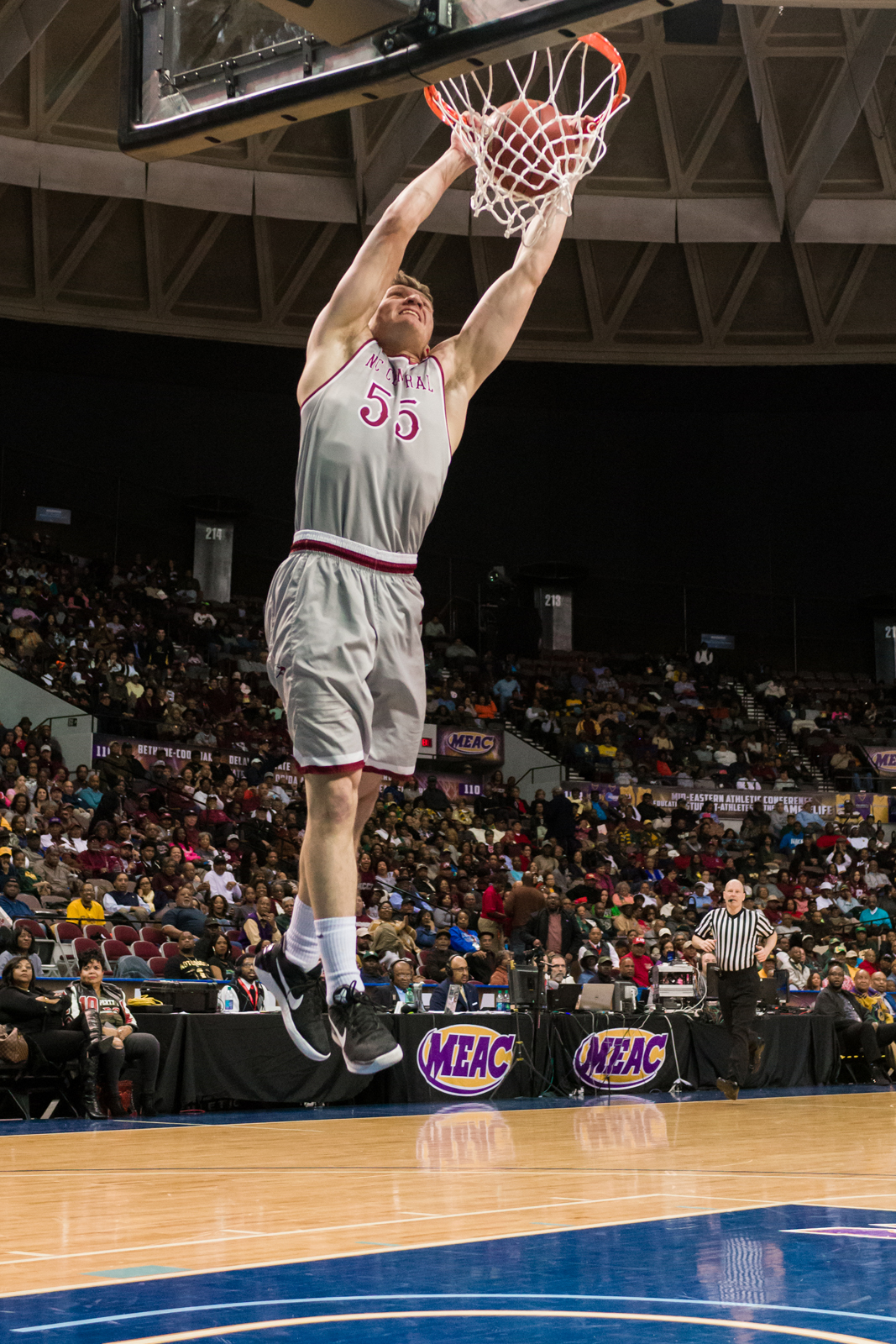 North Carolina Central Eagles guard John Guerra (55) goes up for a slam dunk against the Maryland-Eastern Shore Hawks during the 2017 MEAC Tournament held at the Scope Arena in Norfolk, VA. North Carolina Central defeated Maryland Eastern Shore 77-49.