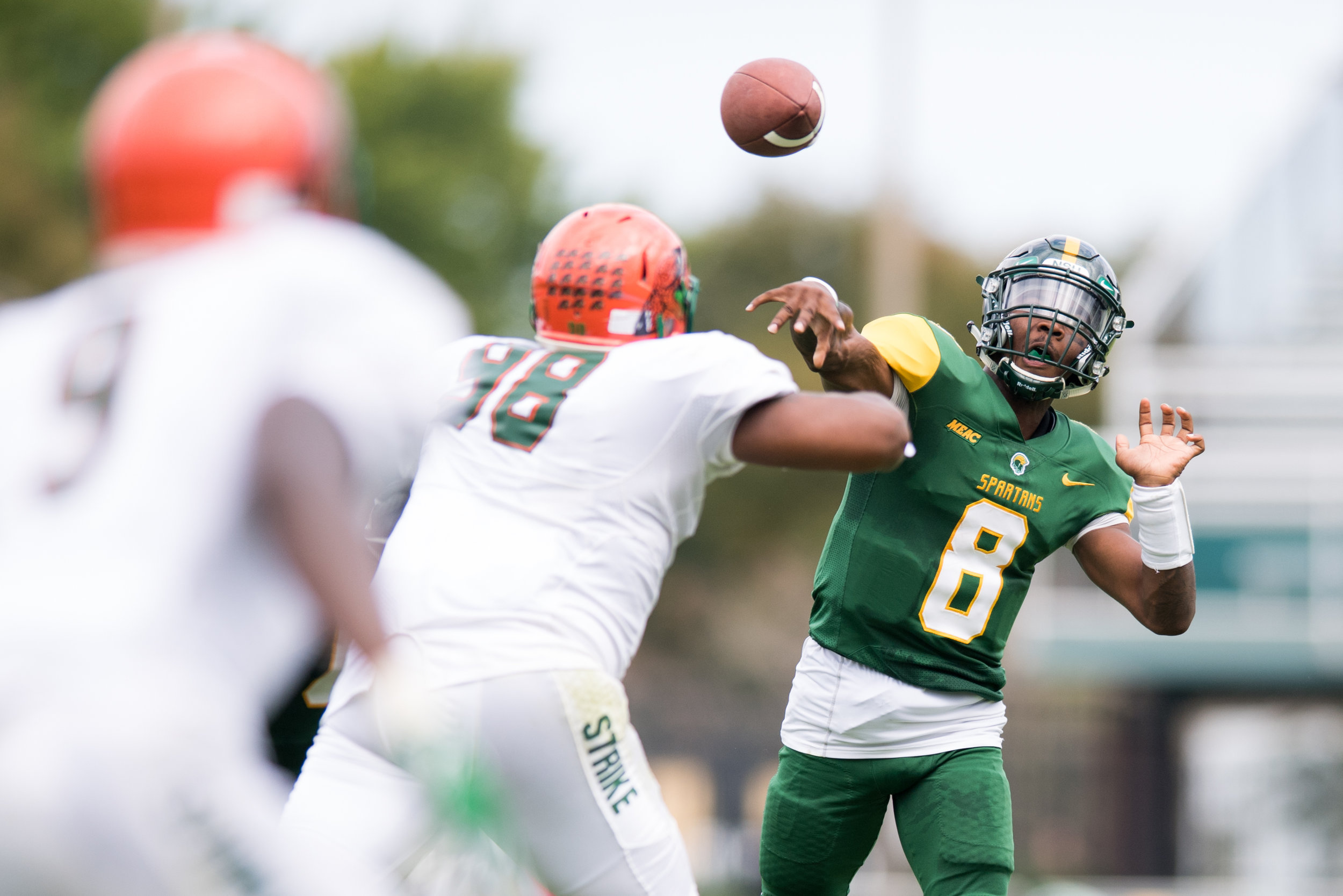 Norfolk State Spartans quarterback Juwan Carter (8) throws a pass for an interception against the Florida A&M Rattlers during the Saturday, October 7th 2017 game held at Dick Price Stadium in Norfolk, Virginia. Score is tied 14-14 at the half.