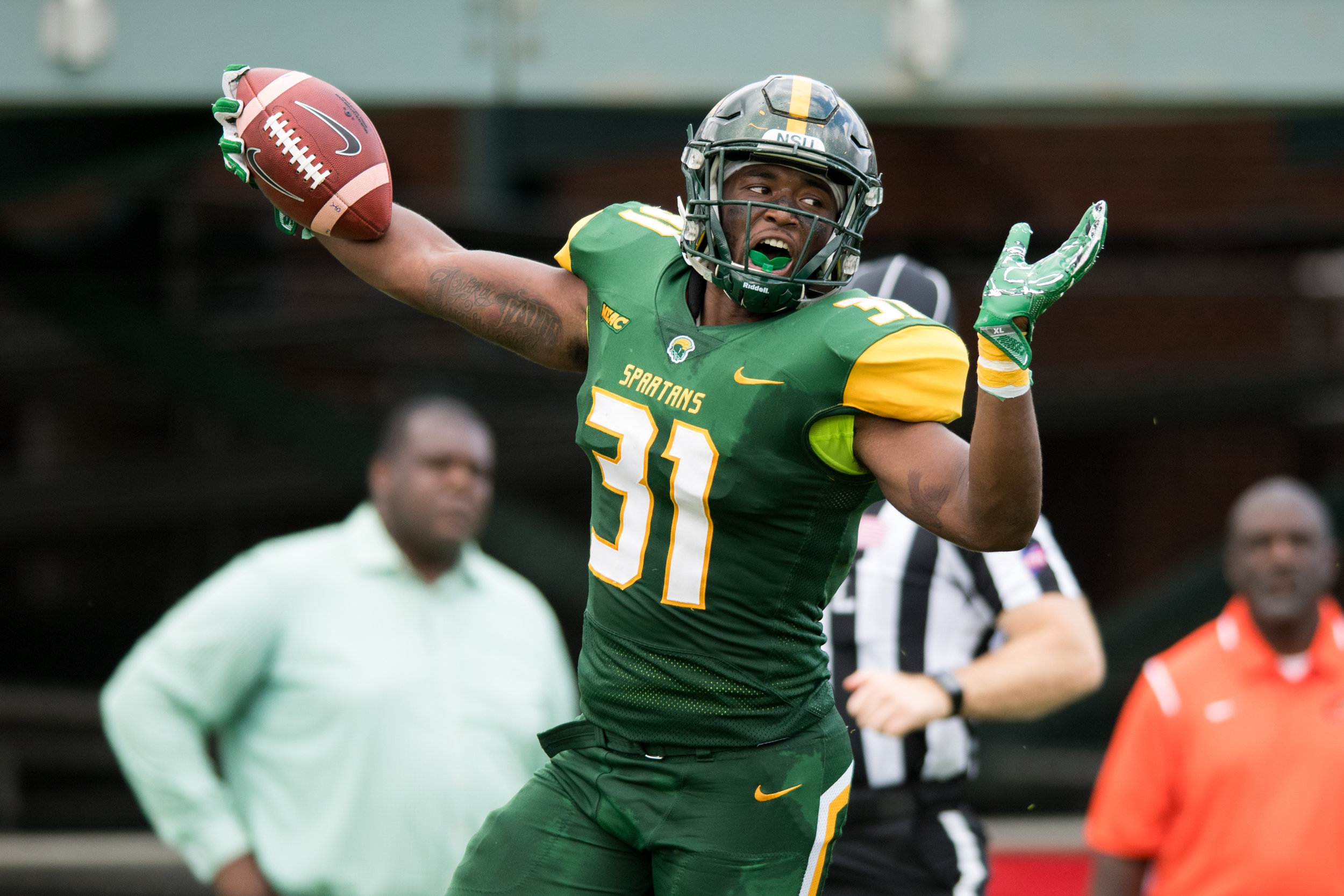 Norfolk State Spartans linebacker Kyle Archie (31) celebrates after recovering a fumble and a running for a touchdown against the Florida A&M Rattlers during the Saturday, October 7th 2017 game held at Dick Price Stadium in Norfolk, Virginia. Score is tied 14-14 at the half.
