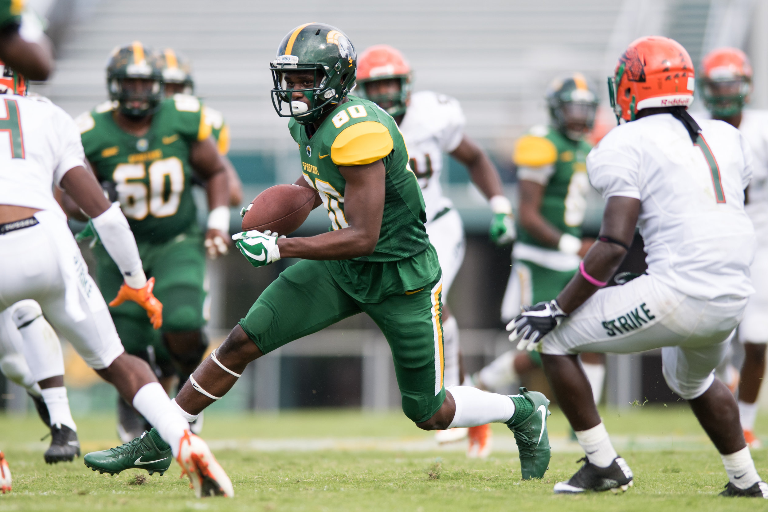 Norfolk State Spartans wide receiver Isaiah Winstead (80) makes a catch for a first down against the Florida A&M Rattlers during the Saturday, October 7th 2017 game held at Dick Price Stadium in Norfolk, Virginia. Score is tied 14-14 at the half.