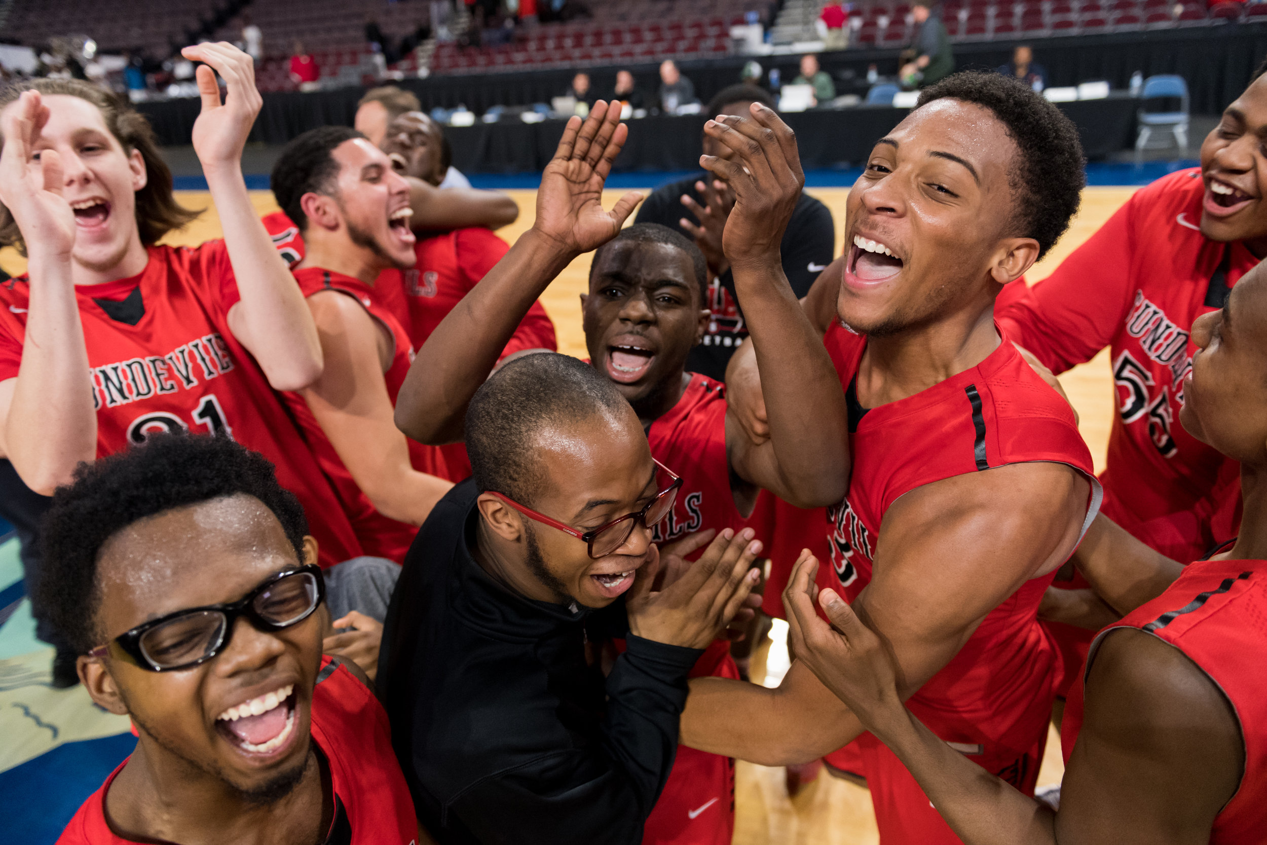 Salem players celebrate after defeating Hampton 50 to 49 during the Region 5A Championship game held Monday, February 26, 2018 at the Norfolk Scope.