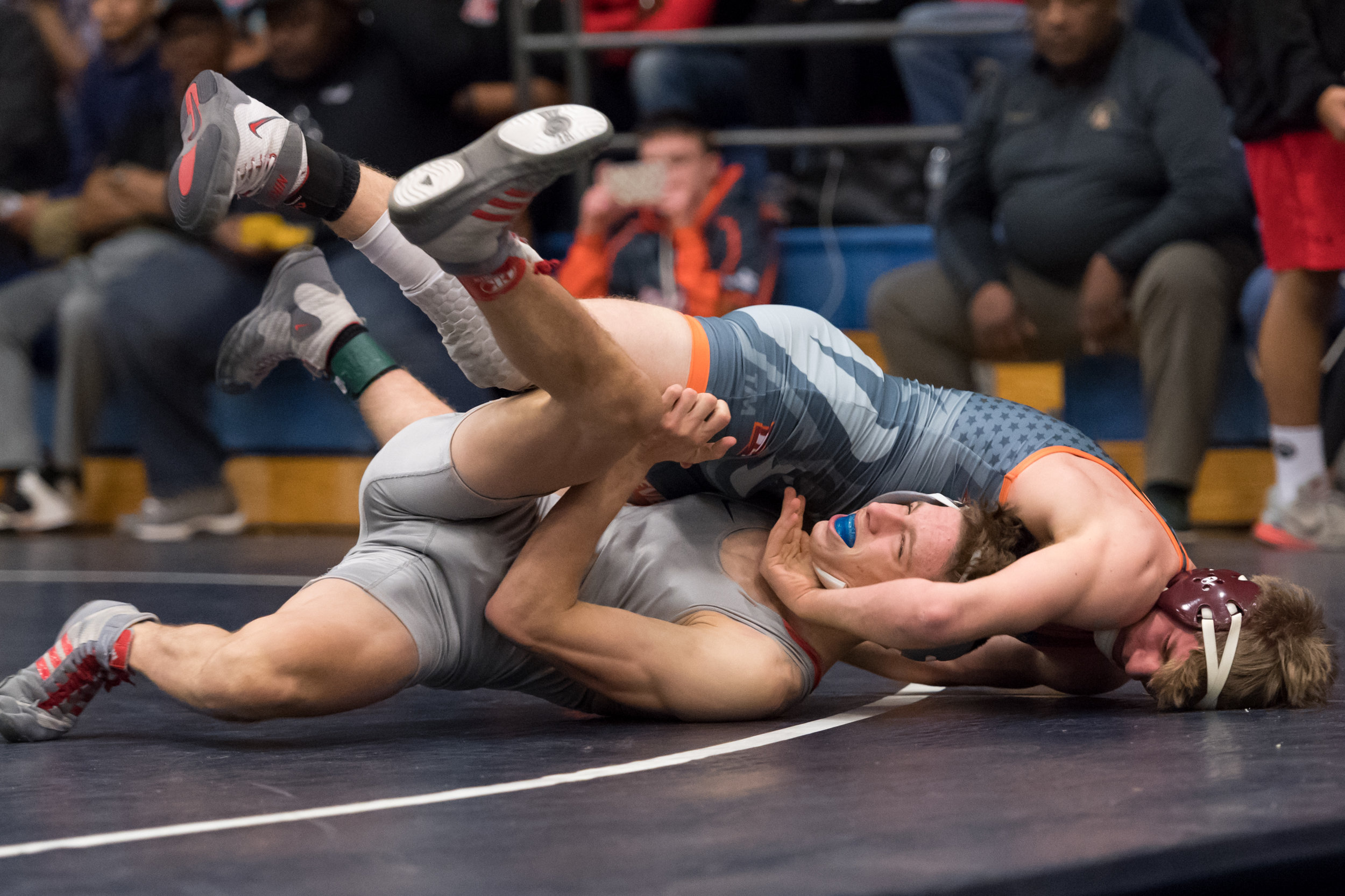 Princess Anne's Joshua Crendally works escape Mountain View's Steven Lang during the 138 pound match at the VHSL Region 5 State Championship held on Saturday, February 17, 2018 at Oscar Smith High School. Crendally won the 138 pound state championship.