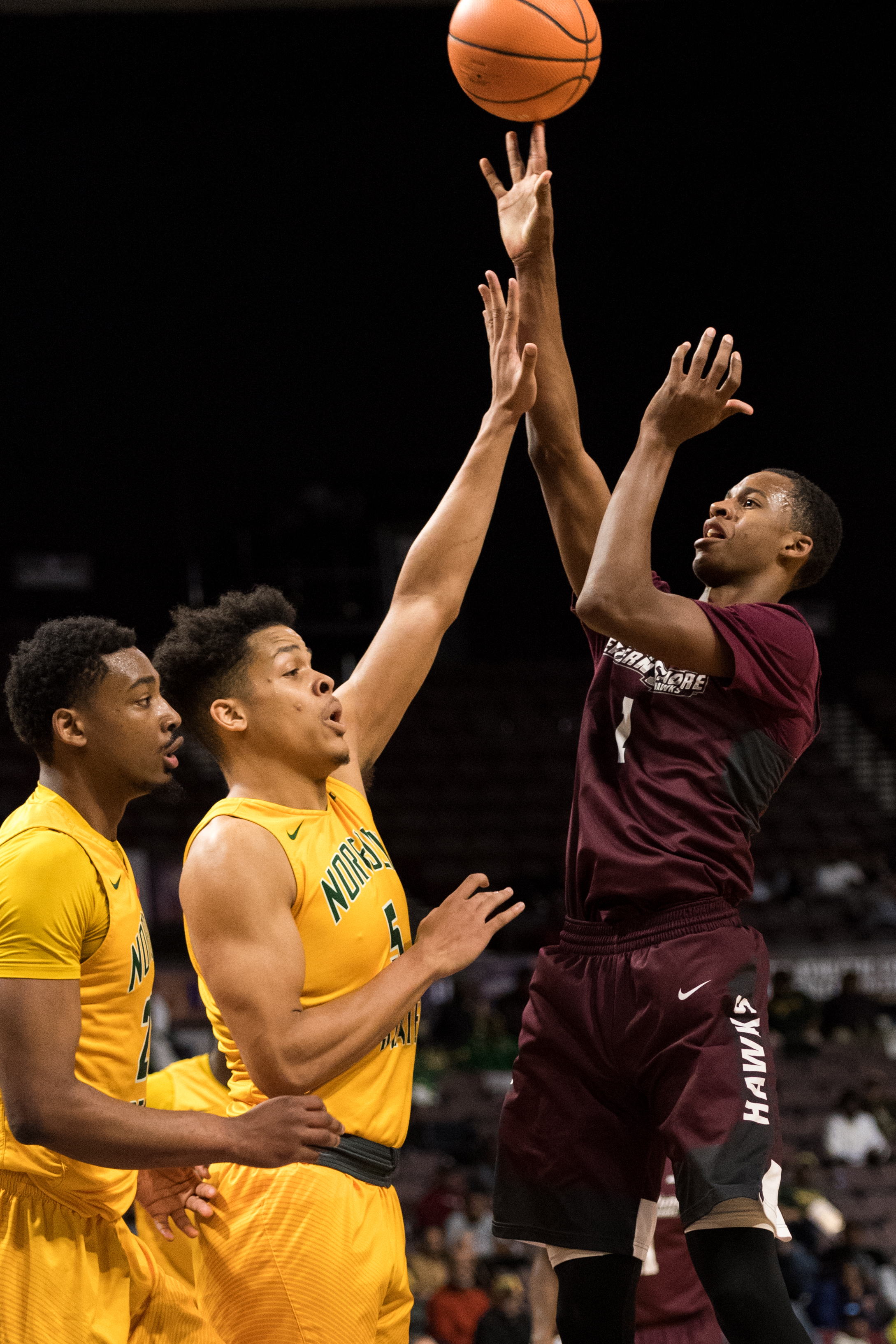 Maryland-Eastern Shore Hawks forward Miryne Thomas (1)  goes up for a shot against Norfolk State Spartans center Bryan Gellineau (5) during the Monday, March 5, 2018 game held at Norfolk Scope Arena.