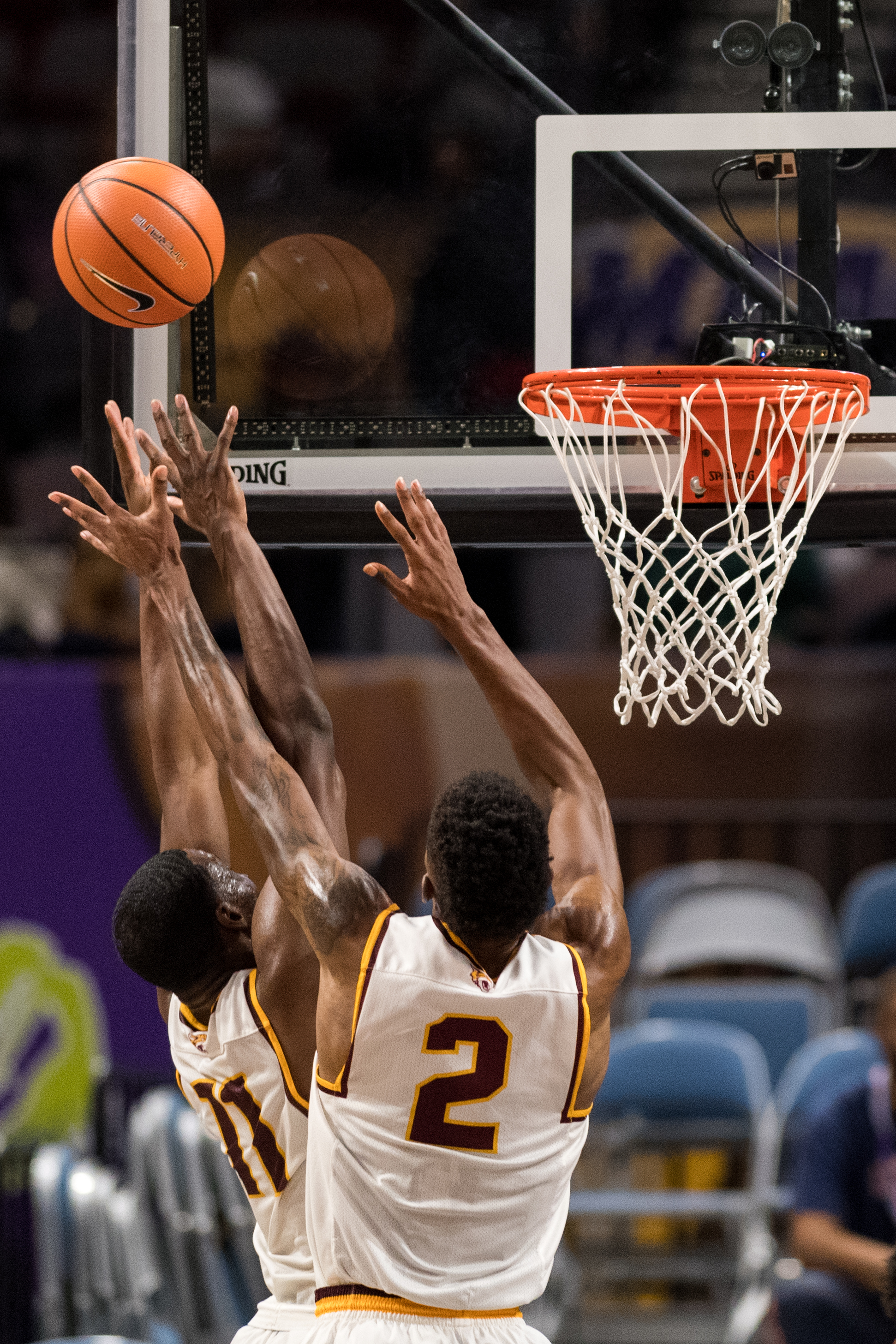 Bethune-Cookman Wildcats guard Isaiah Bailey (2) and forward Soufiyane Diakite (11) go up for a rebound against the Morgan State Bears during the Wednesday, March 7, 2018 game held at Norfolk Scope Arena.