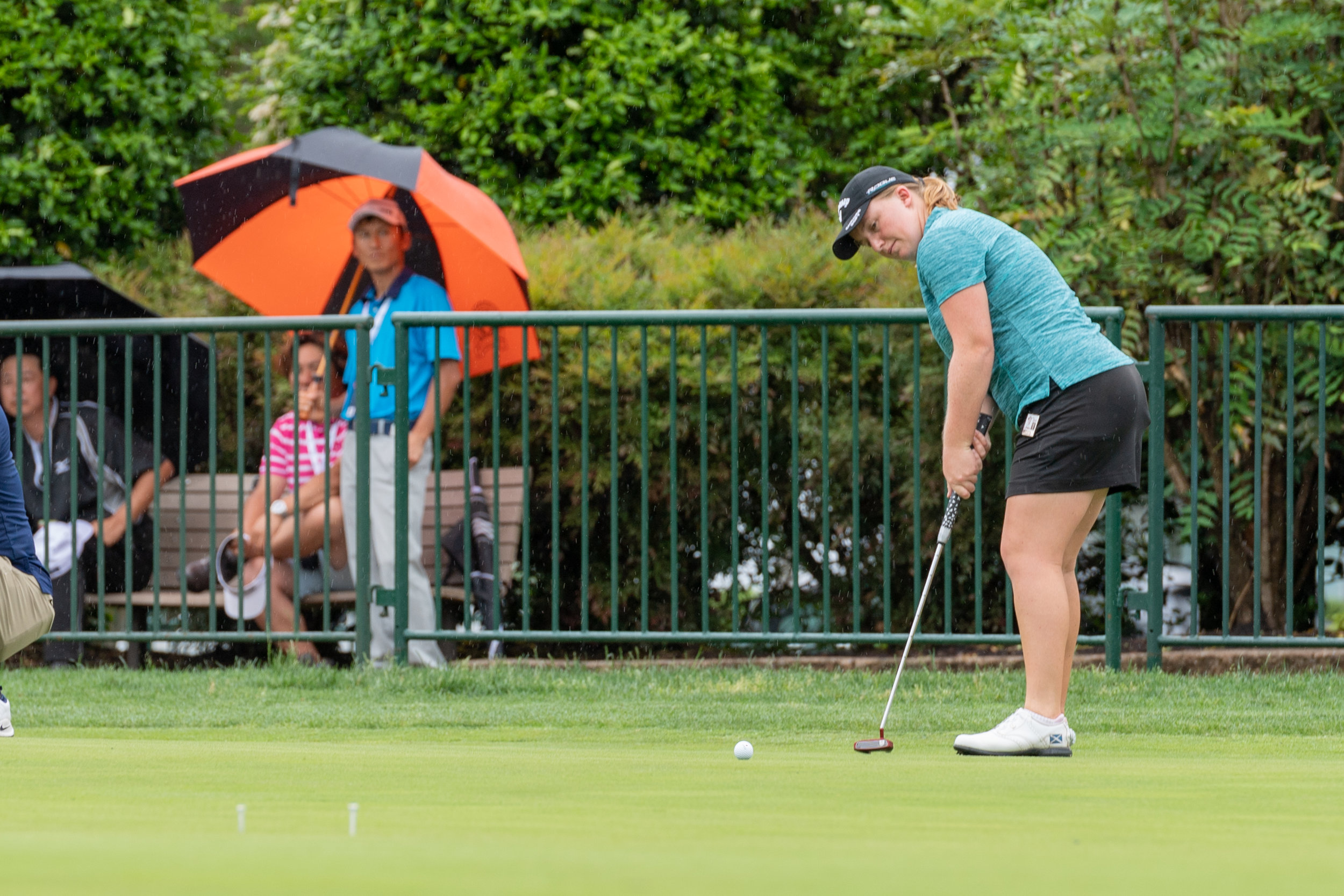 Gemma Dryburgh practices in the rain on Saturday, May 19, 2018 game at Kingsmill Resort . Play was suspended Friday night due to weather conditions and is expected to continue Sunday, May 20, 2018.