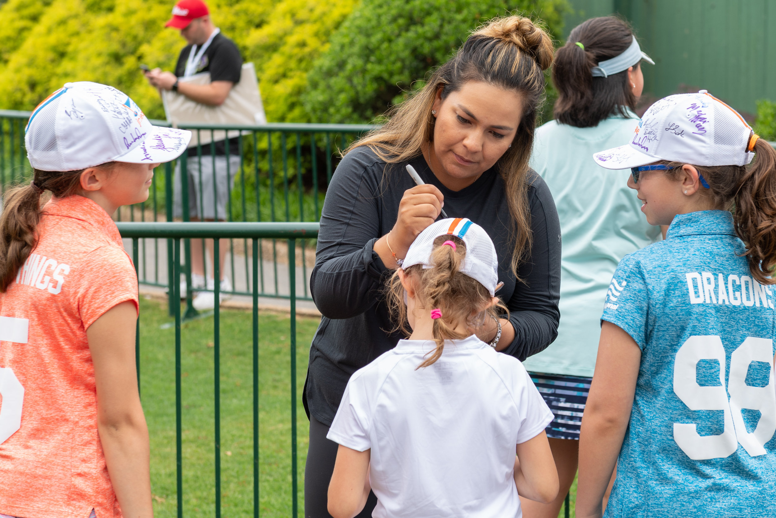 Lizette Salas signs autographs after practice on Saturday, May 19, 2018 game at Kingsmill Resort . Play was suspended Friday night due to weather conditions and is expected to continue Sunday, May 20, 2018.