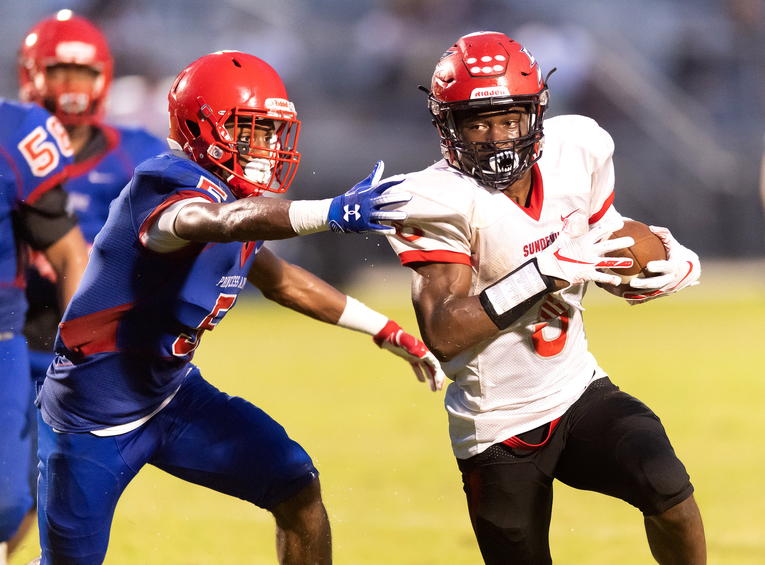 Game action from HS Football: Salem vs Princess Anne held on Thursday, August 30, 2018 at Princess Anne High School in Virginia Beach.