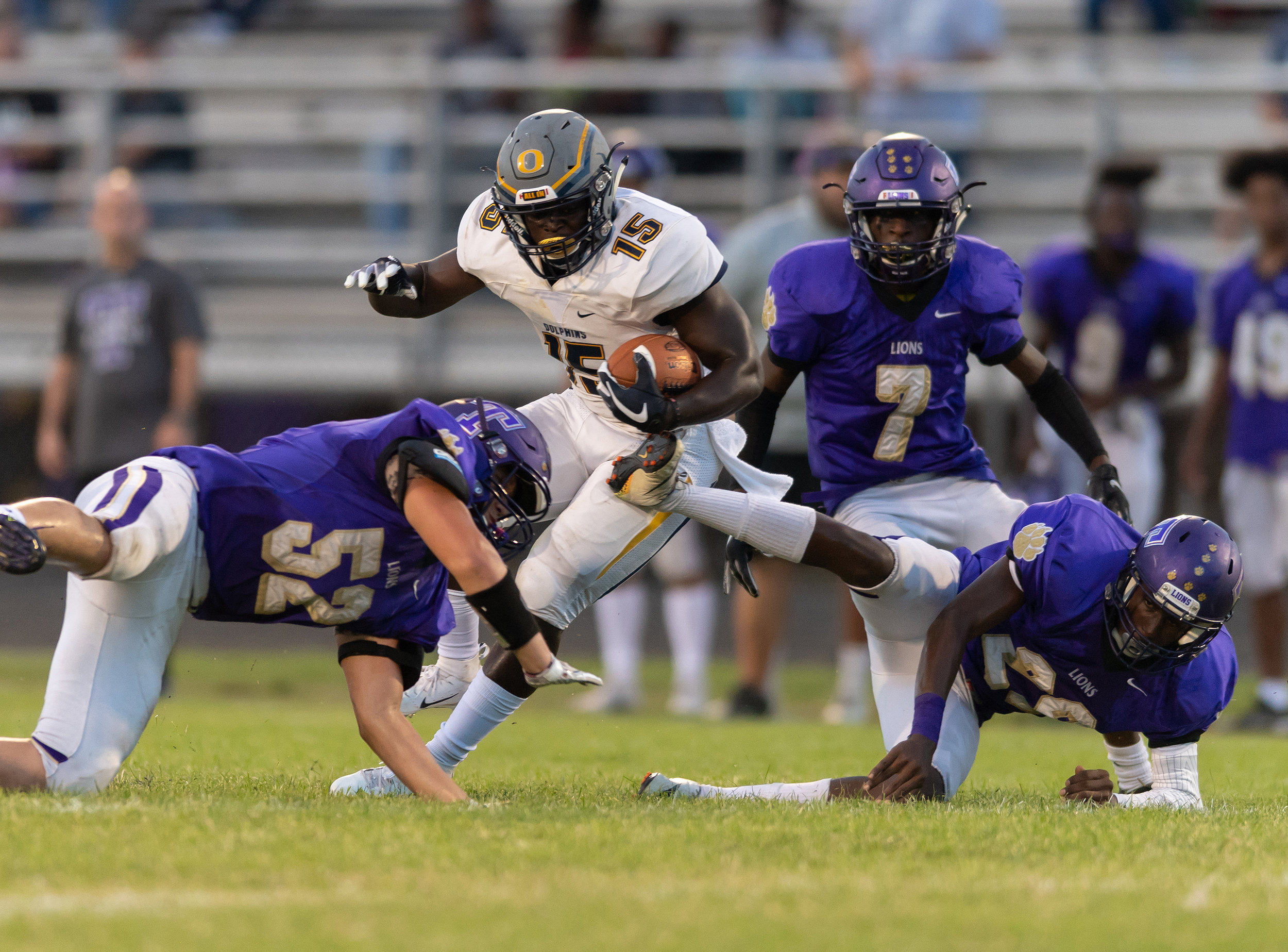 Game action from High School Football Ocean Lakes vs Tallwood held on Friday, September 07,2018 at Tallwood High School in Virginia Beach.