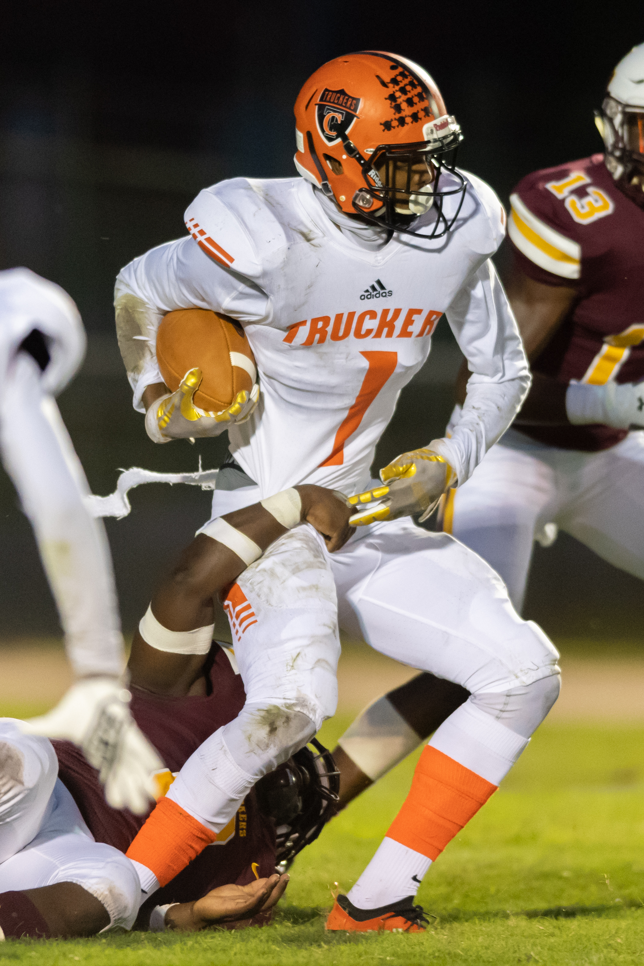 Churchland's Isaiah Nixon runs the ball against Booker T Washington during the Friday, September 28, 2018 game at Booker T Washington High School. Booker T Washington leads Churchland 21 to 6 in the second quarter.