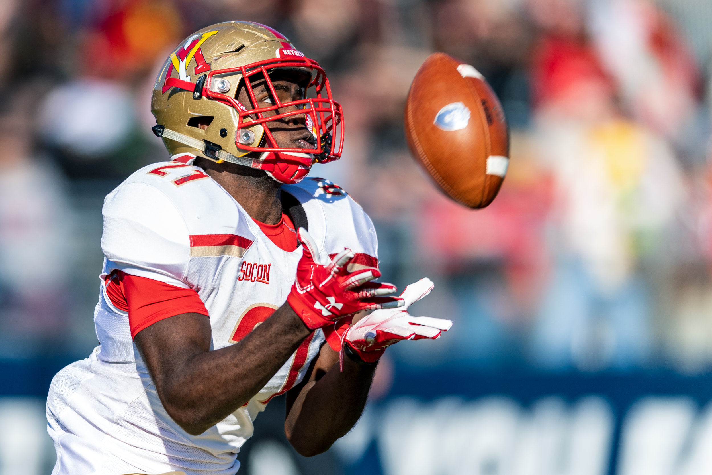 Virginia Military Institute Keydets running back Korey Bridy (21) catches a kickoff during the Saturday, Nov. 17, 2018 game held at Old Dominion University in Norfolk, Virginia. Old Dominion leads VMI 49 to 0 at halftime.