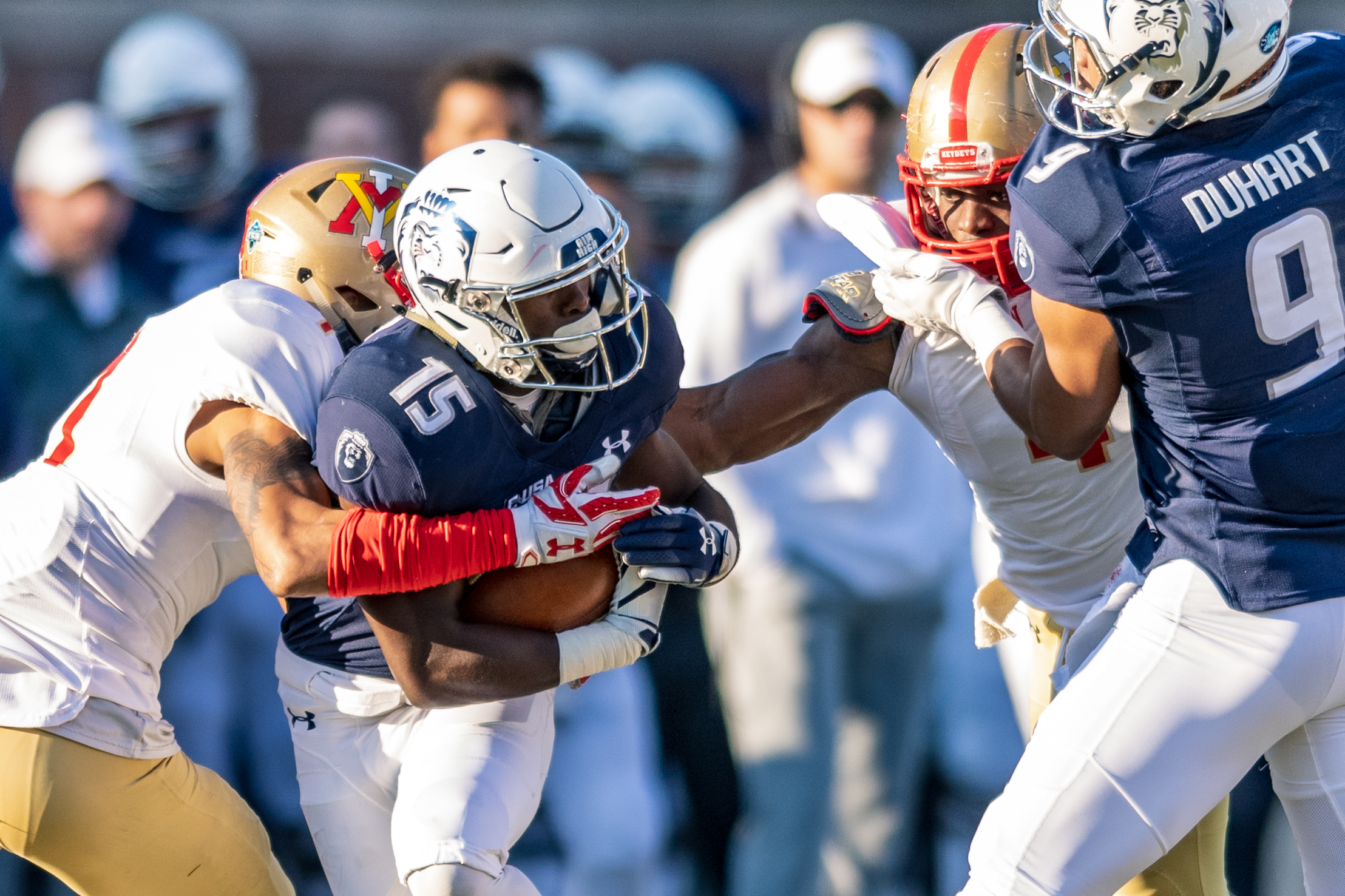 Virginia Military Institute Keydets defensive back Kaleb Tucker (1) works to tackle Old Dominion Monarchs wide receiver Isaiah Harper (15) during the Saturday, Nov. 17, 2018 game held at Old Dominion University in Norfolk, Virginia. Old Dominion leads VMI 49 to 0 at halftime.