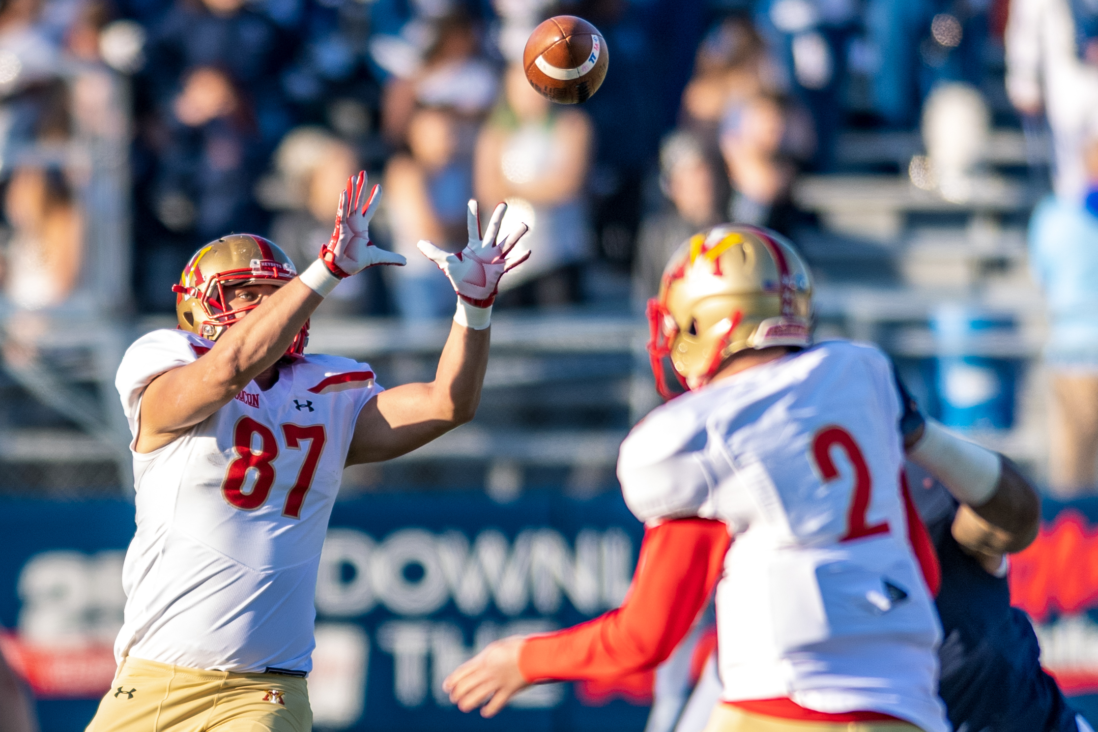 Virginia Military Institute Keydets tight end Colby Rider (87) catches a pass from Virginia Military Institute Keydets quarterback Reece Udinski (2) during the Saturday, Nov. 17, 2018 game held at Old Dominion University in Norfolk, Virginia. Old Dominion leads VMI 49 to 0 at halftime.