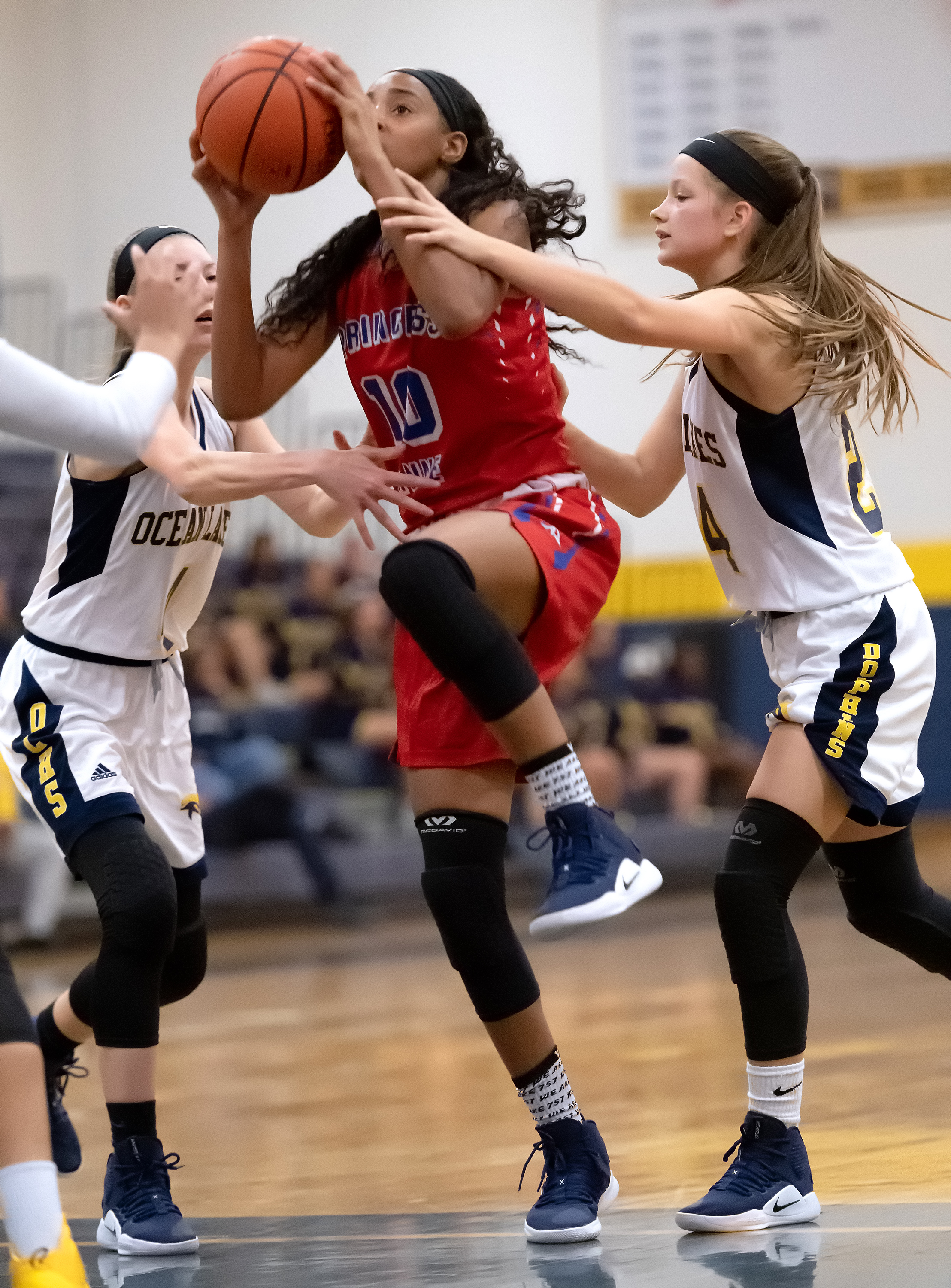 Game action from Princess Anne vs Ocean Lakes girls basketball held on Friday, November 30, 2018 at Ocean Lakes High School in Virginia Beach. Princess Anne defeated Ocean Lakes 85 to 39.
