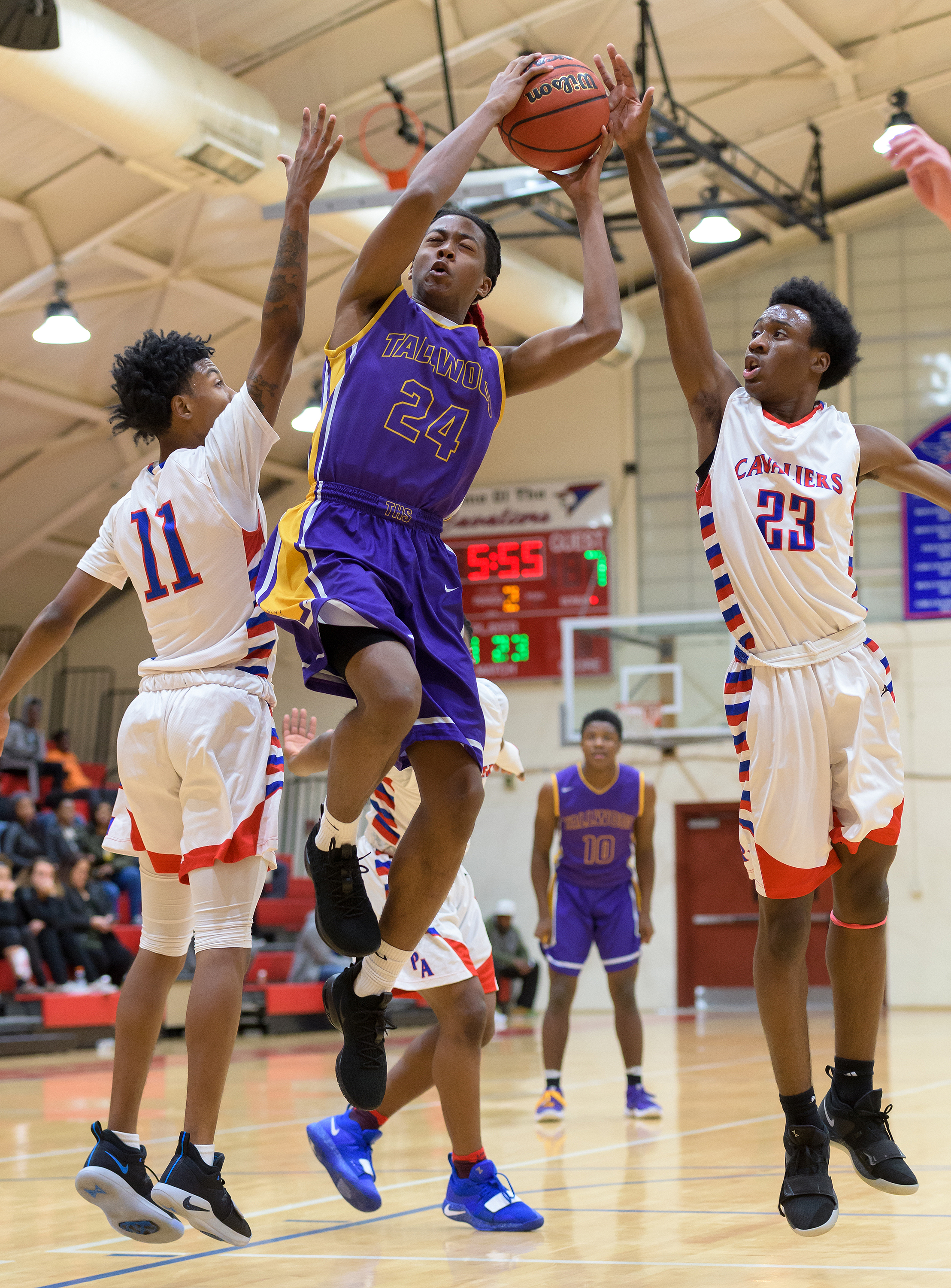 Game action from the Tallwood vs Princess Anne basketball game held on Tuesday, December 04, 2018 at the Princess Anne High School. Princess Anne defeated Tallwood 69 to 40.