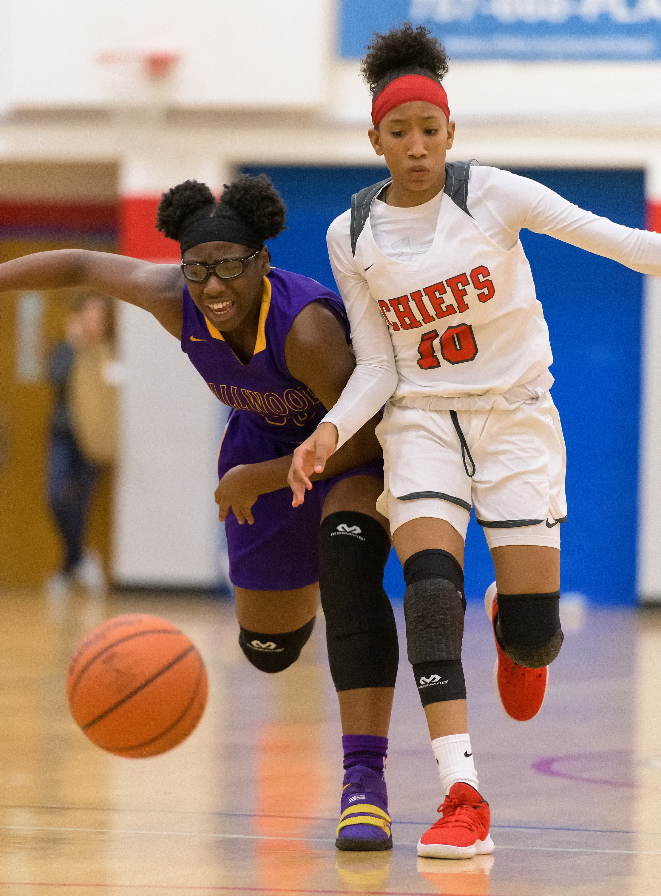 Game action from the Tallwood vs Kempsville girls basketball game held on Friday, December 07, 2018 at Kempsville High School. Kempsville defeated Tallwood 83 to 27.