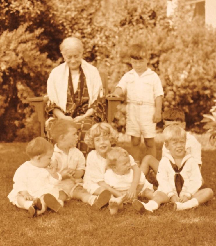 Jeannette Seymour Tuttle and grandchildren, 1925: (rear) Charles D. Tuttle; (front, l-r) Howard Larkin, Charles Larkin Jr., Jeannette Eden, Bronson Eden, John Eden, Donald Tuttle Jr. (partial view)