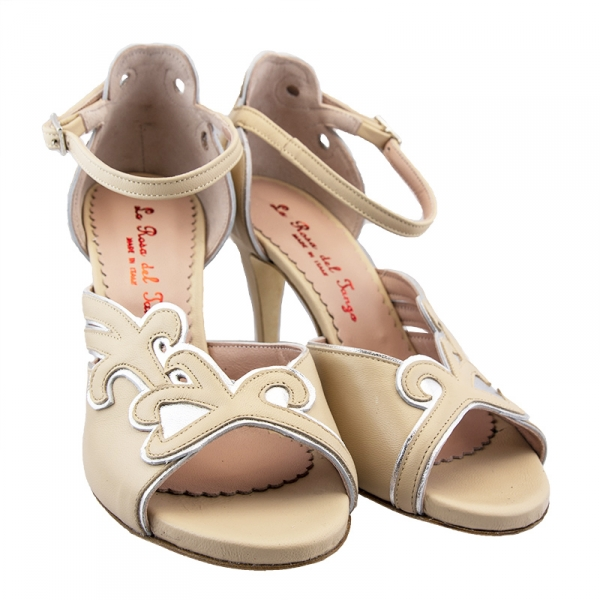 Italian Tango Shoes, Nude and White Leather, Size 38, Brand New, $120