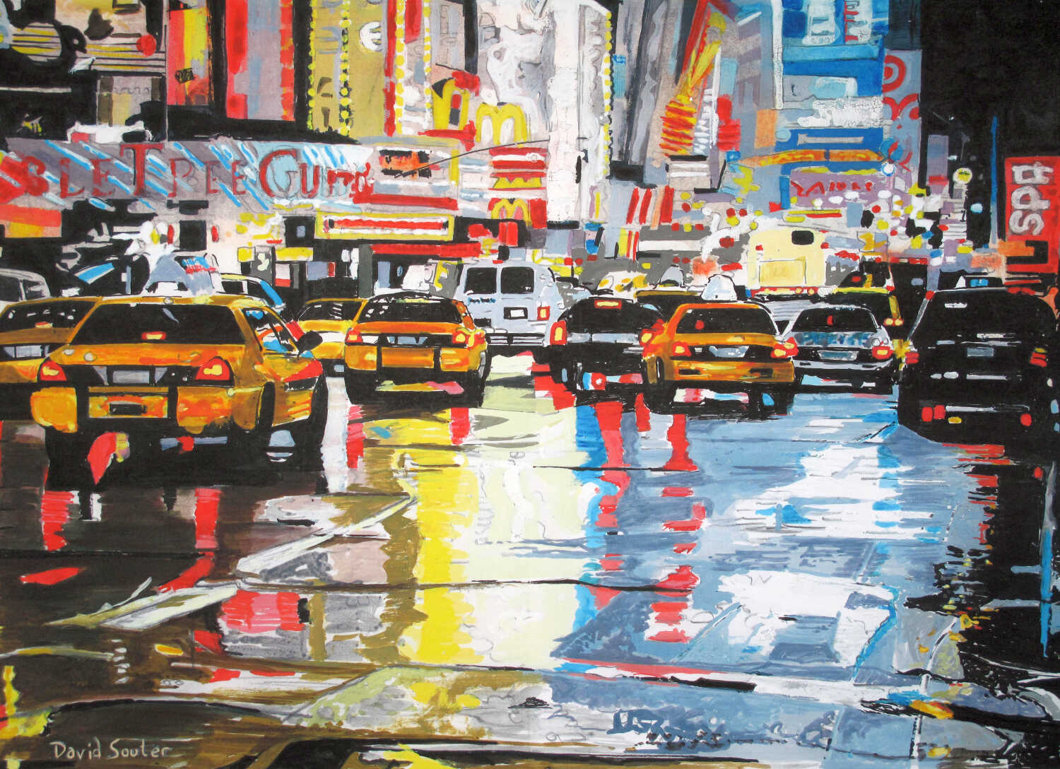 Taxis in the rain