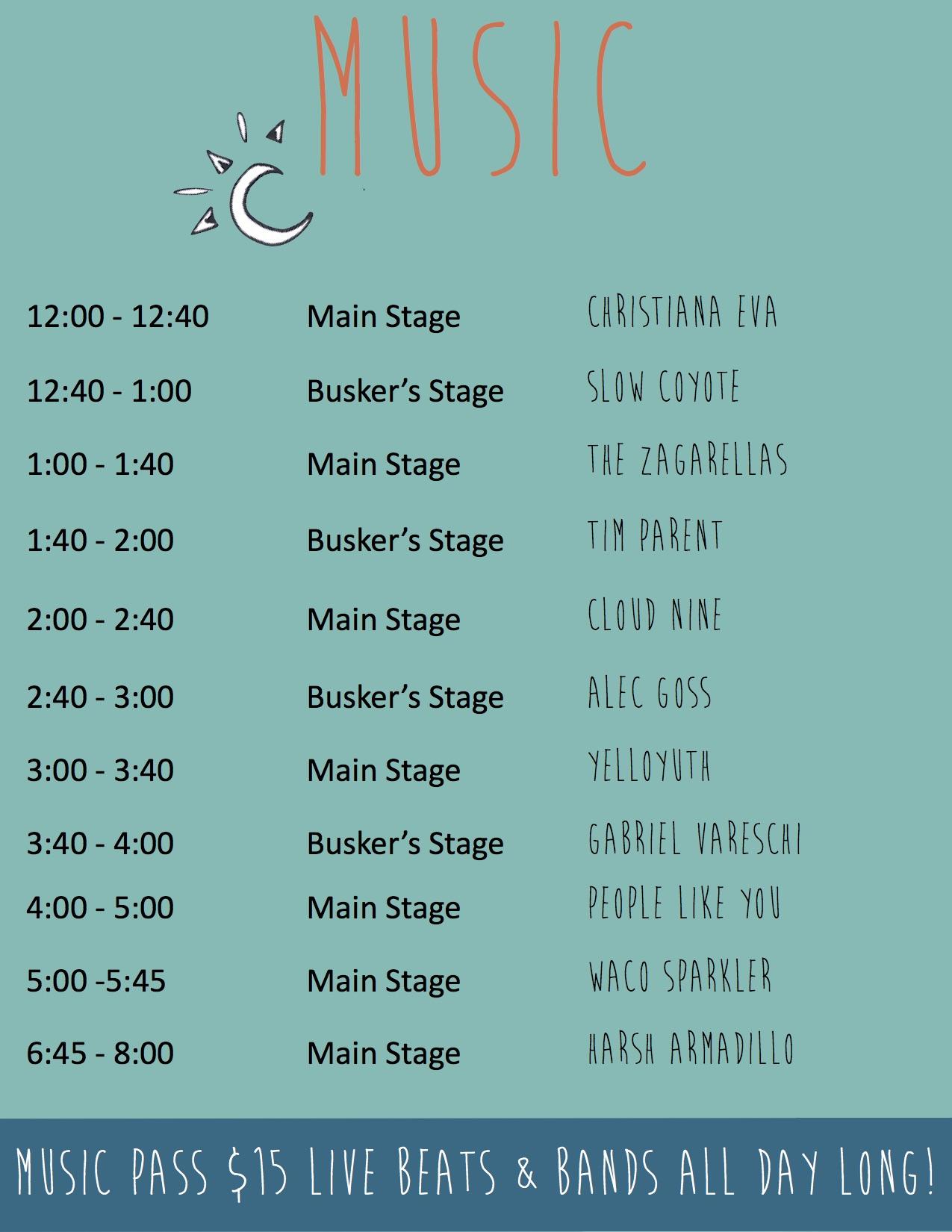 WV Music Schedule 2016