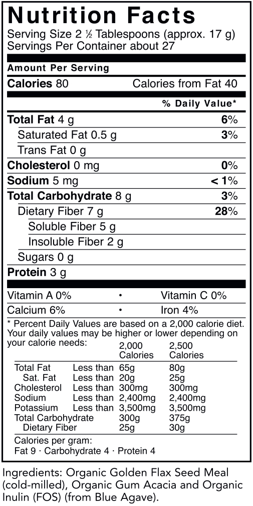 Suggested Use - As a dietary supplement, mix 2.5 tablespoons (17 g) into at least 12 oz. of water or juice, and blend.Be sure to drink plenty of additional fluids throughout the day.Start with smaller amounts and gradually increase to full serving size over several weeks.Use once or twice daily for optimal effect.Proprietary Organic Fiber Blend of: Organic Golden Flax Seed Meal (cold-milled), Organic Gum Acacia, and Organic Inulin (FOS)  17 g  †Naturally occurring fatty acids (example) (per serving)**Omega-3 Fatty Acids (Alpha Linolenic Acid)  2,550 mgOmega-6 Fatty Acids (Linoleic Acid)            765 mgOmega-9 Fatty Acids (Oleic Acid)               895 mg** subject to natural variabilityOther Ingredients: None.