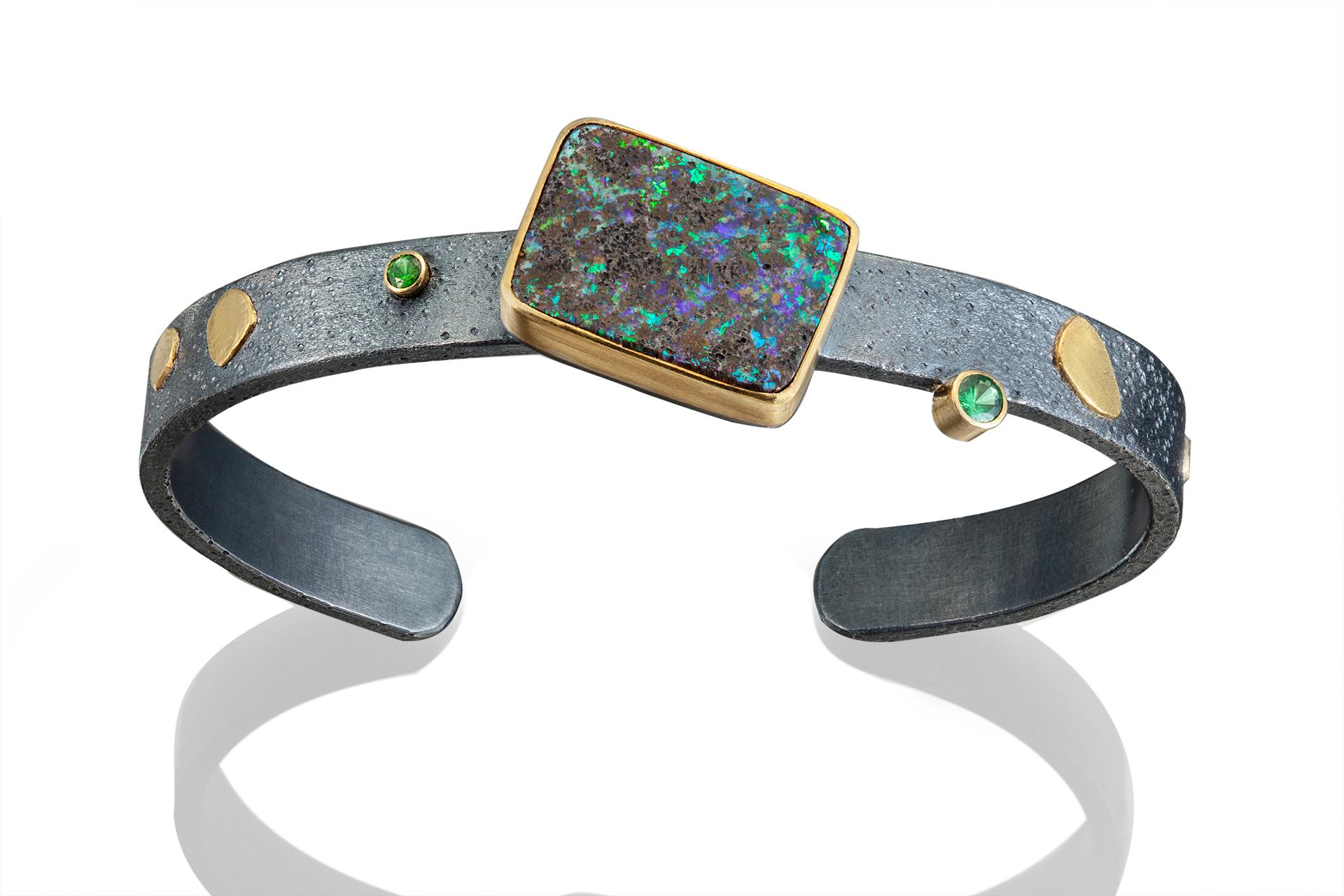 Opal and tsavorite cuff