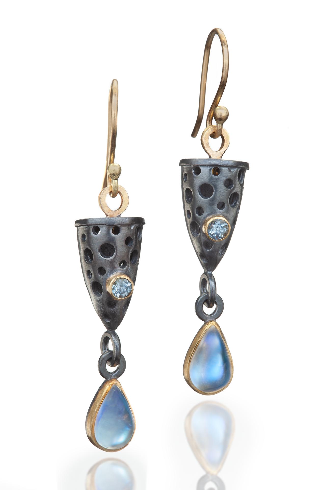Moonstone and Aqua Stella Earrings